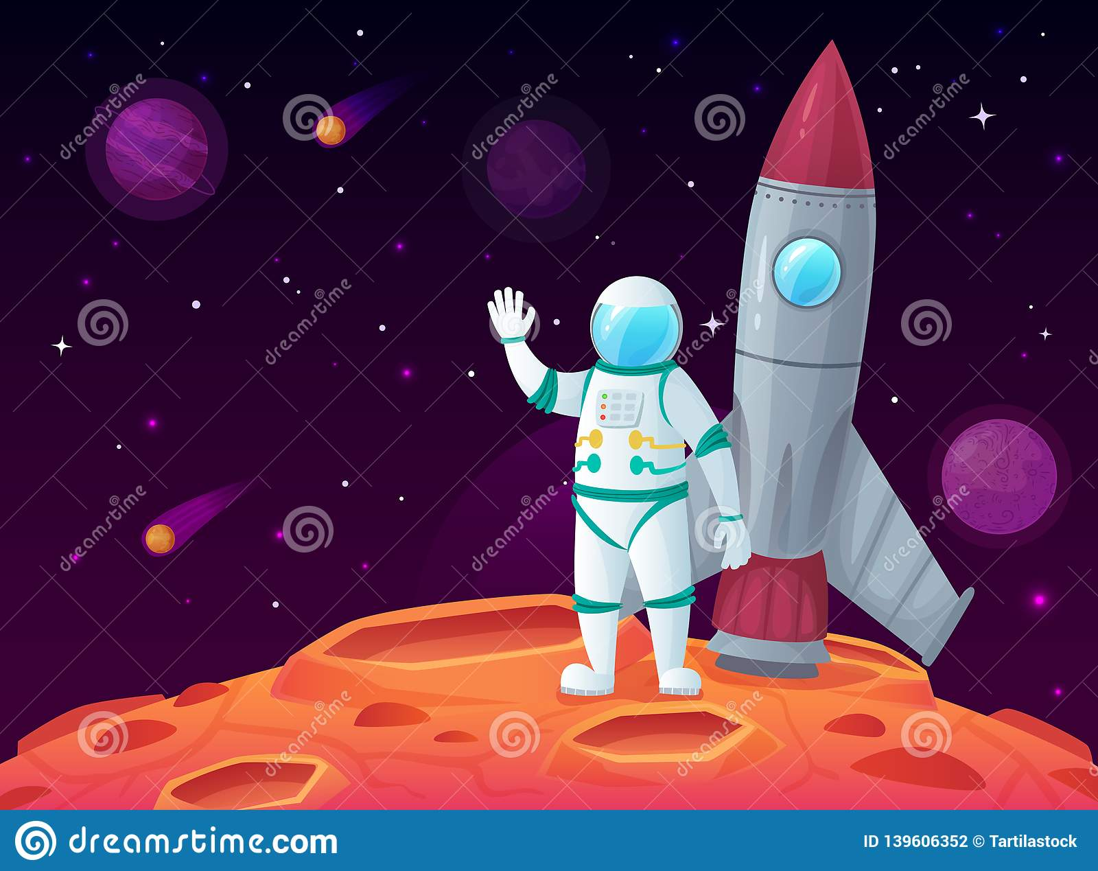 Astronaut in lunar surface. Rocket spaceship, space planet and outerspace travel spacecraft vector cartoon illustration