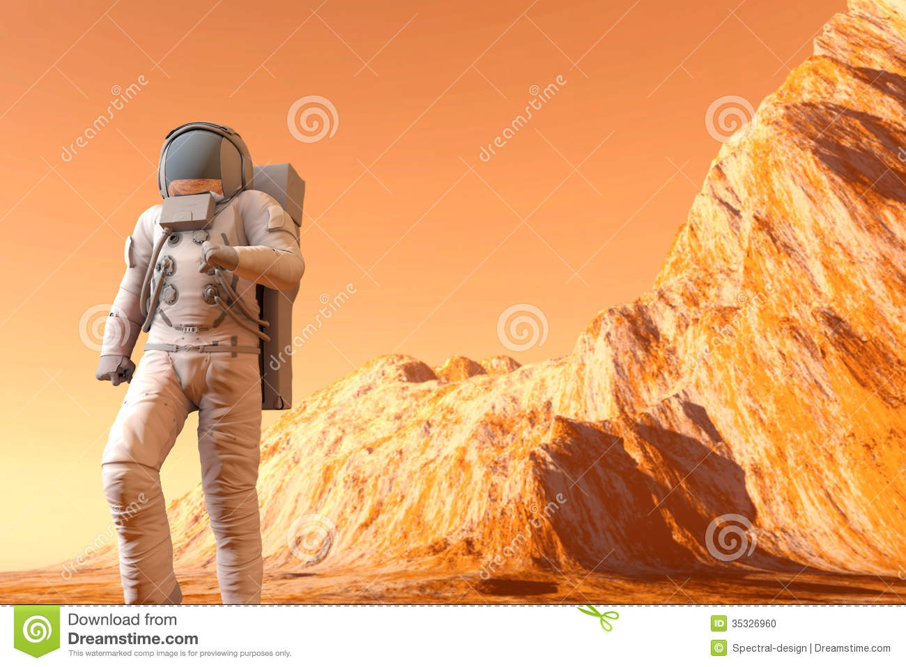 Astronaut On Mars Stock Photo - Image: 35326960