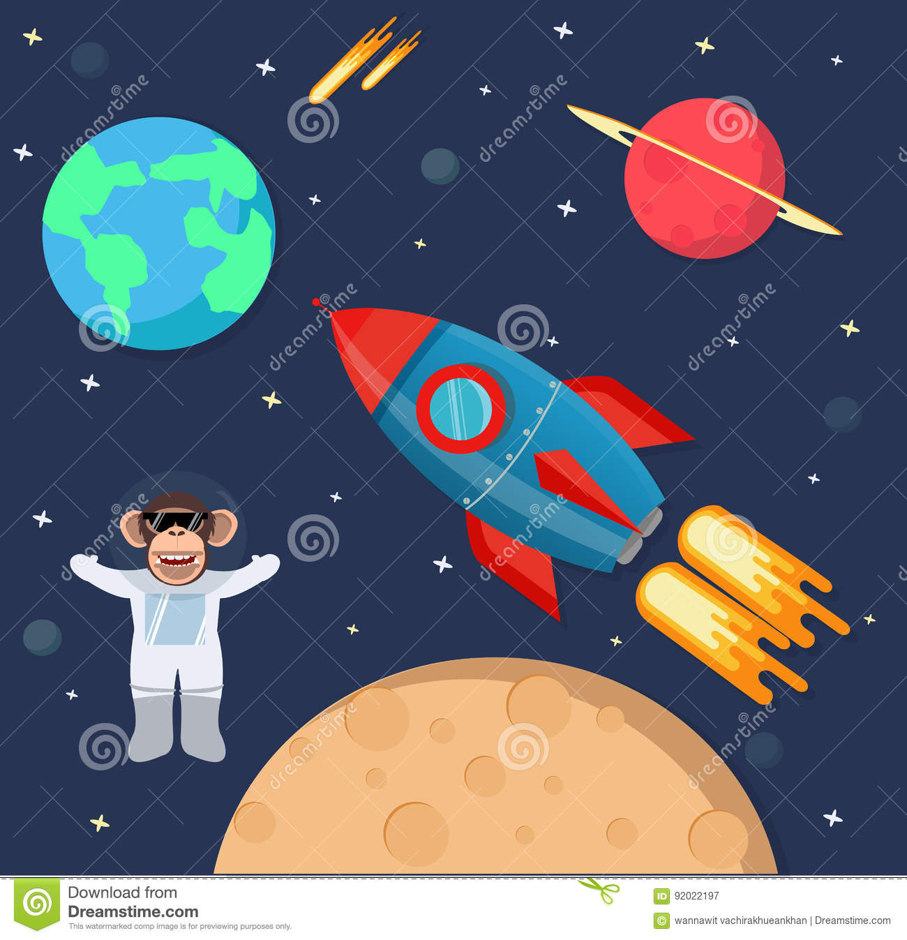 Astronaut Monkey In Space With Rocket Ship Stock Vector ...