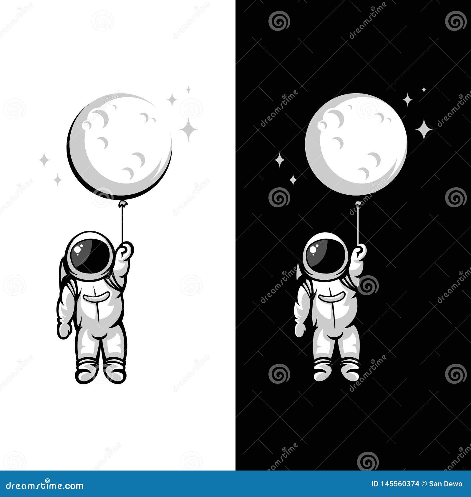 Astronaut moon balloon illustrations