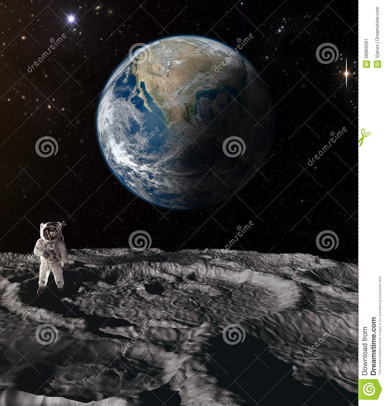 astronaut on moon earth background - photo #12