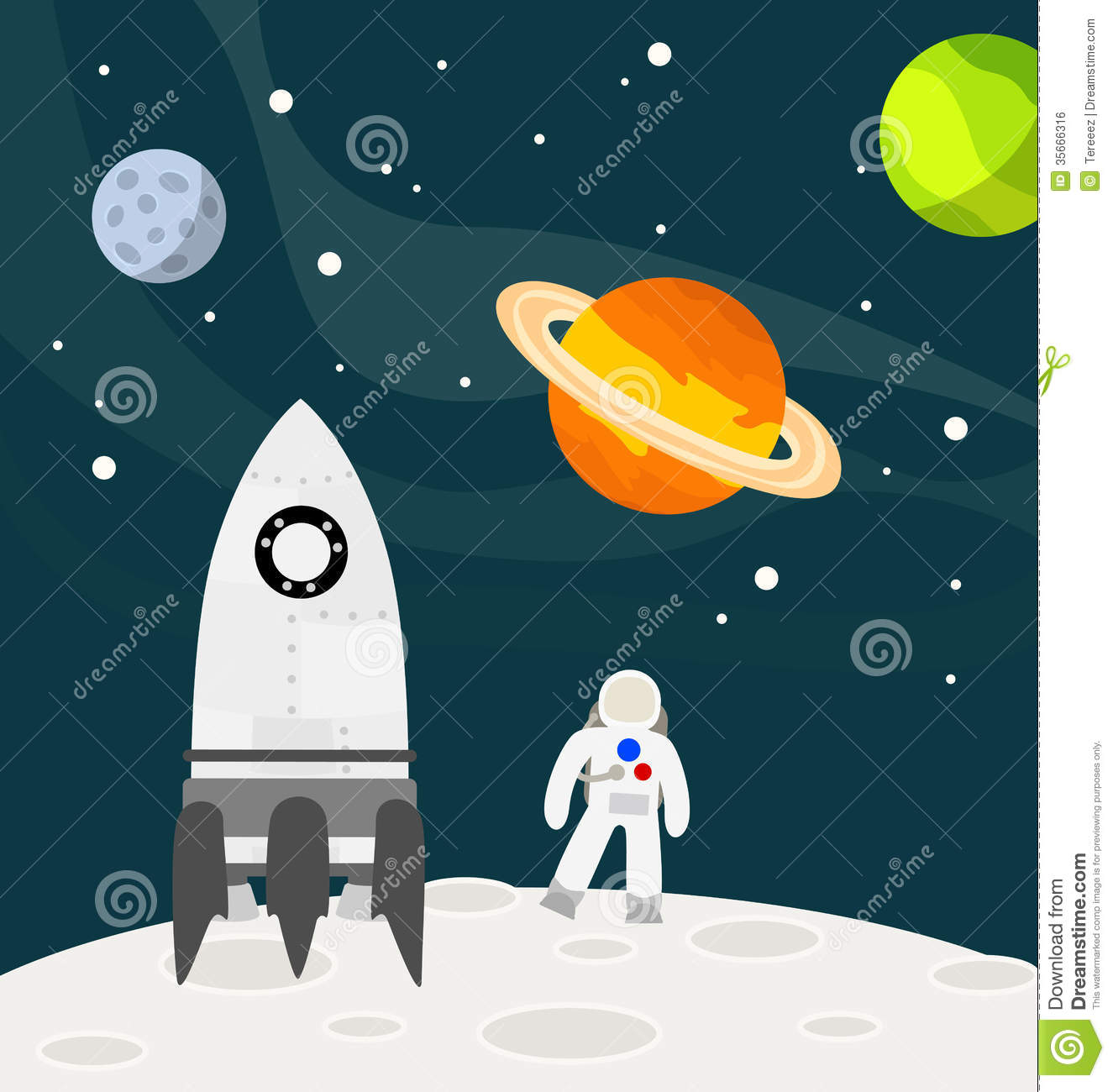Astronaut On The Moon With Rocket Vector Royalty Free Stock Image ...
