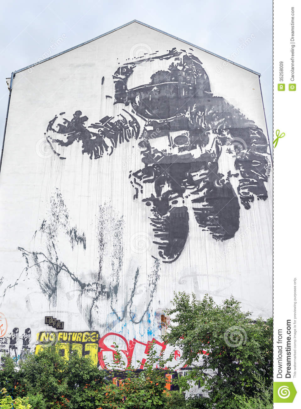 Artist Painting Mural Stock Photography