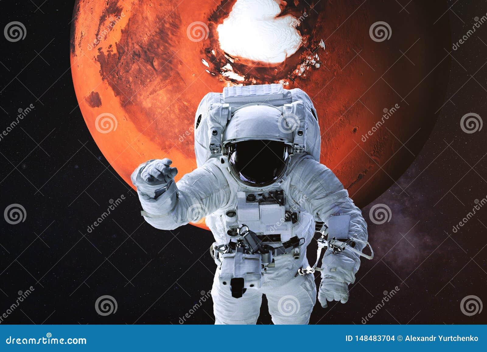 Astronaut op de achtergrond van Mars