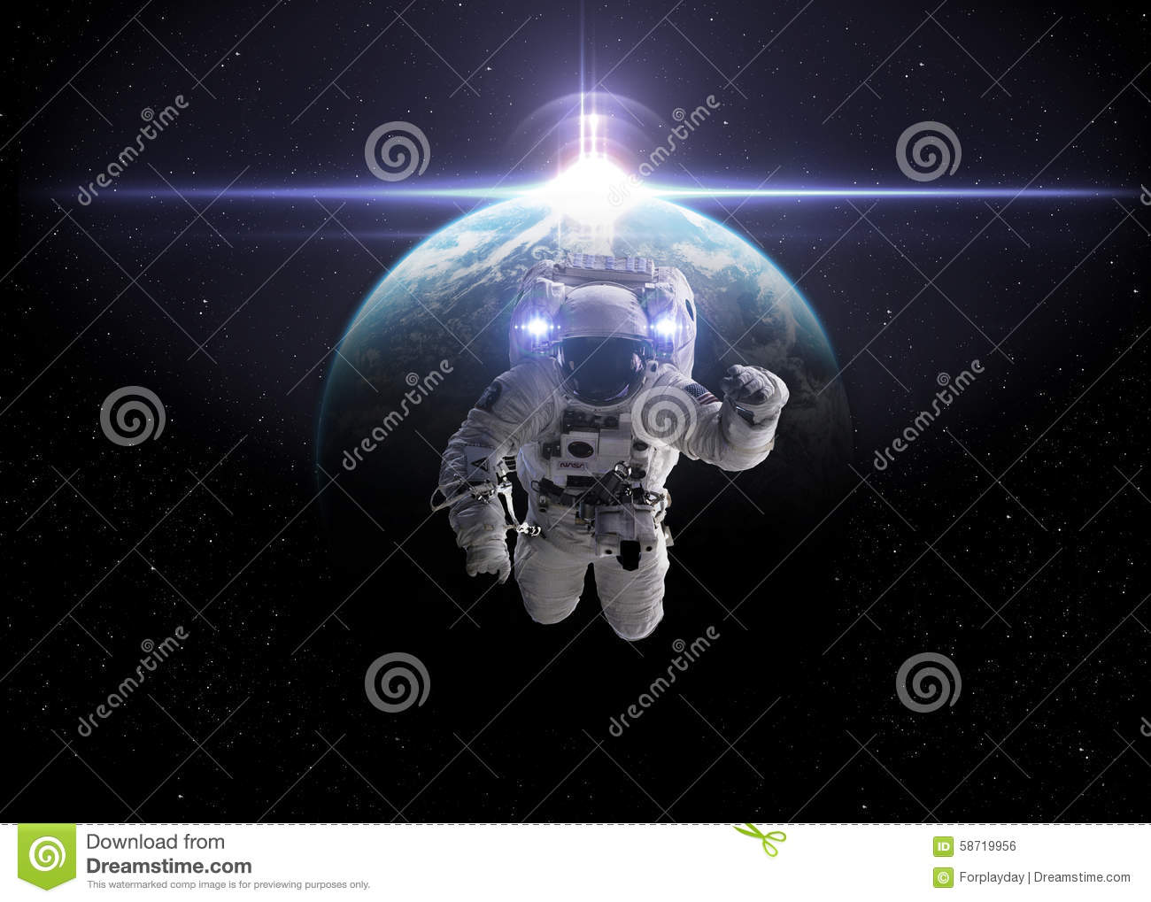 Astronaut in outer space stock photo. Image of cosmonaut ...