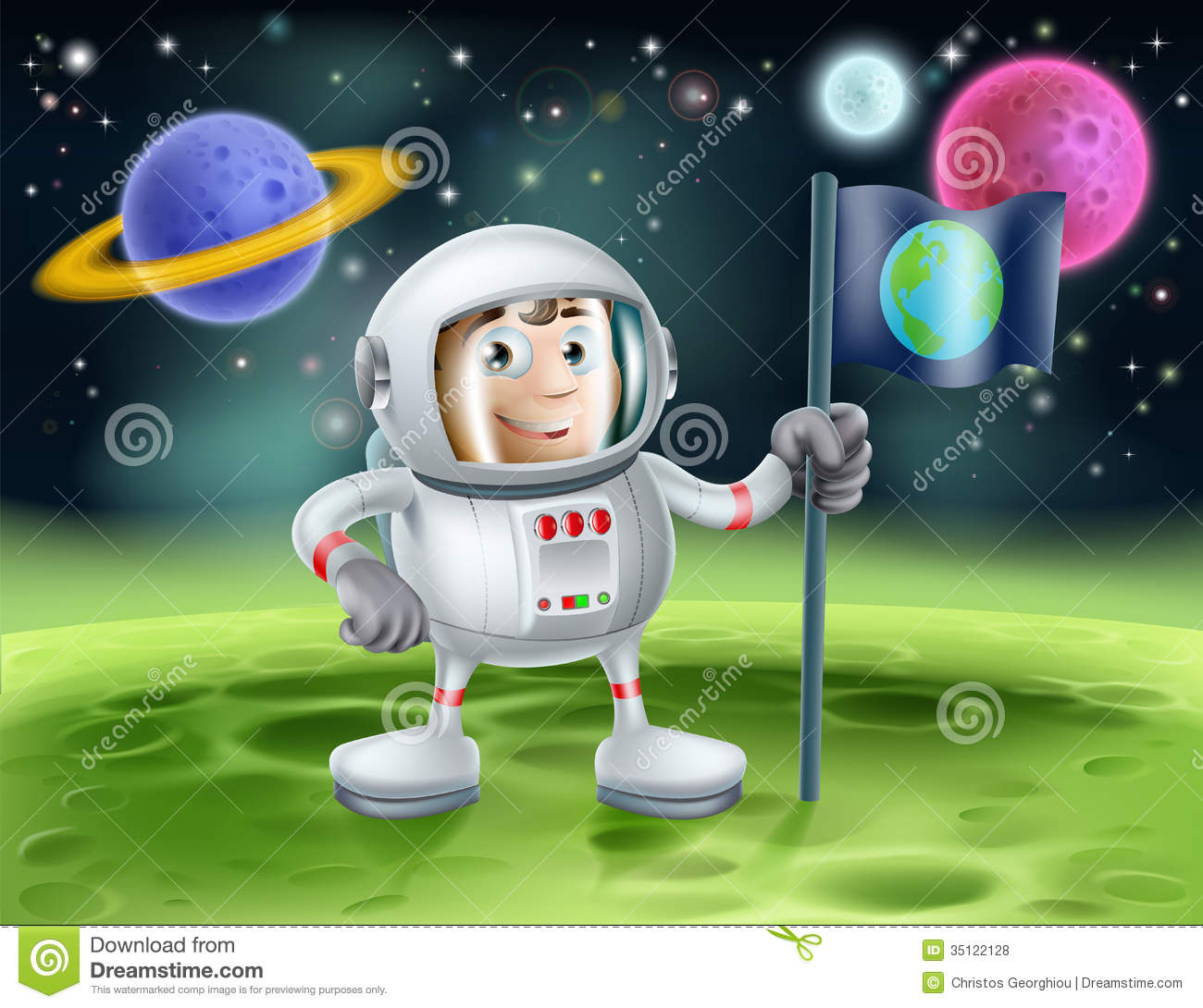 Astronaut outer space cartoon royalty free stock photos