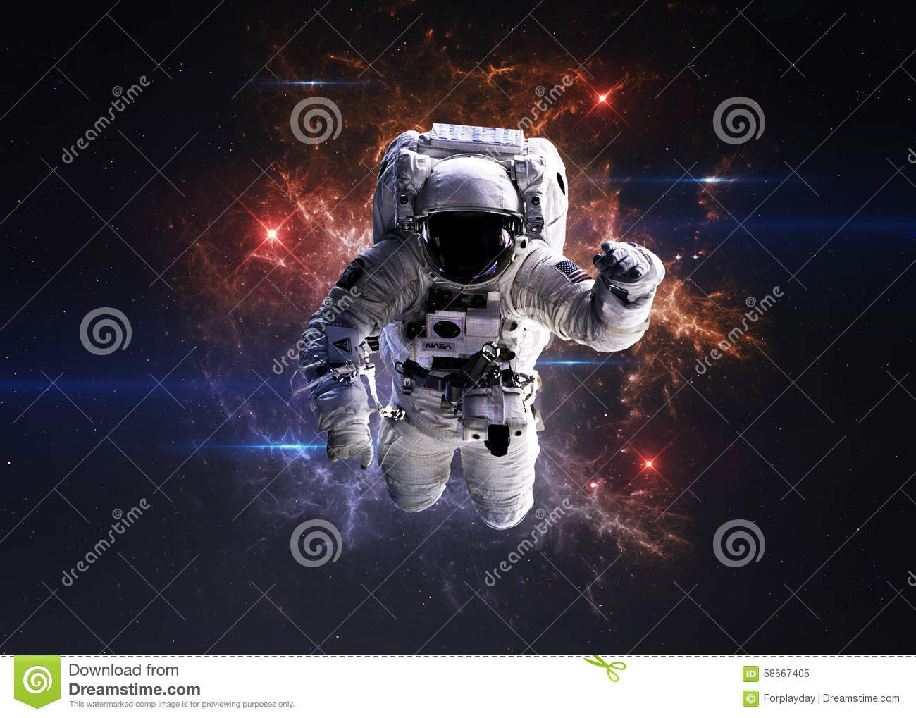 Astronaut in outer space stock photo image 58667405 for Outer space elements