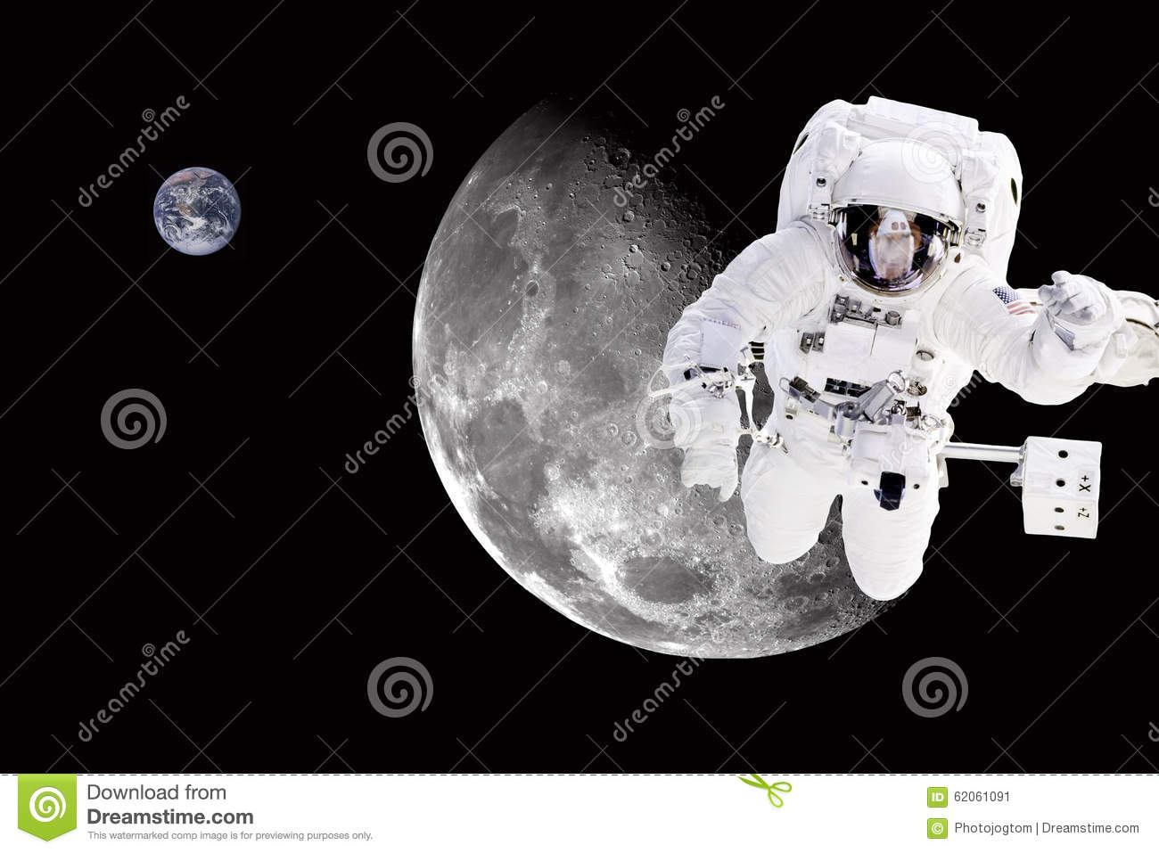 Astronaut in outer space elements of this image for Outer space elements