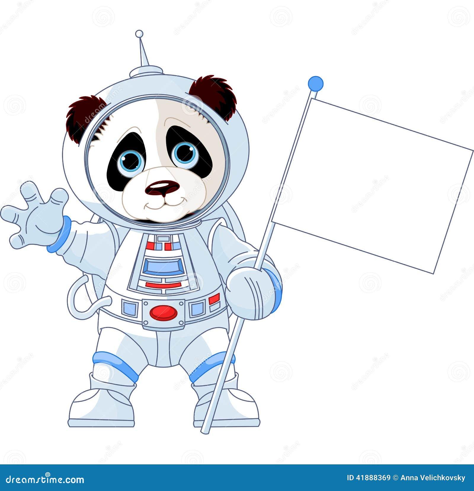 Panda Astronaut Cartoon cartoon panda and moon stock vector - image ...