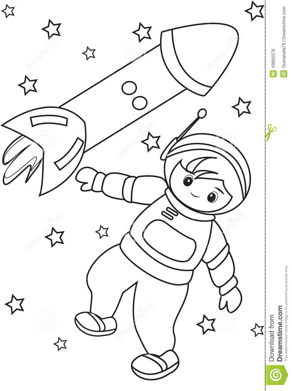 Astronaut In Space Coloring Page Useful As Book For Kids