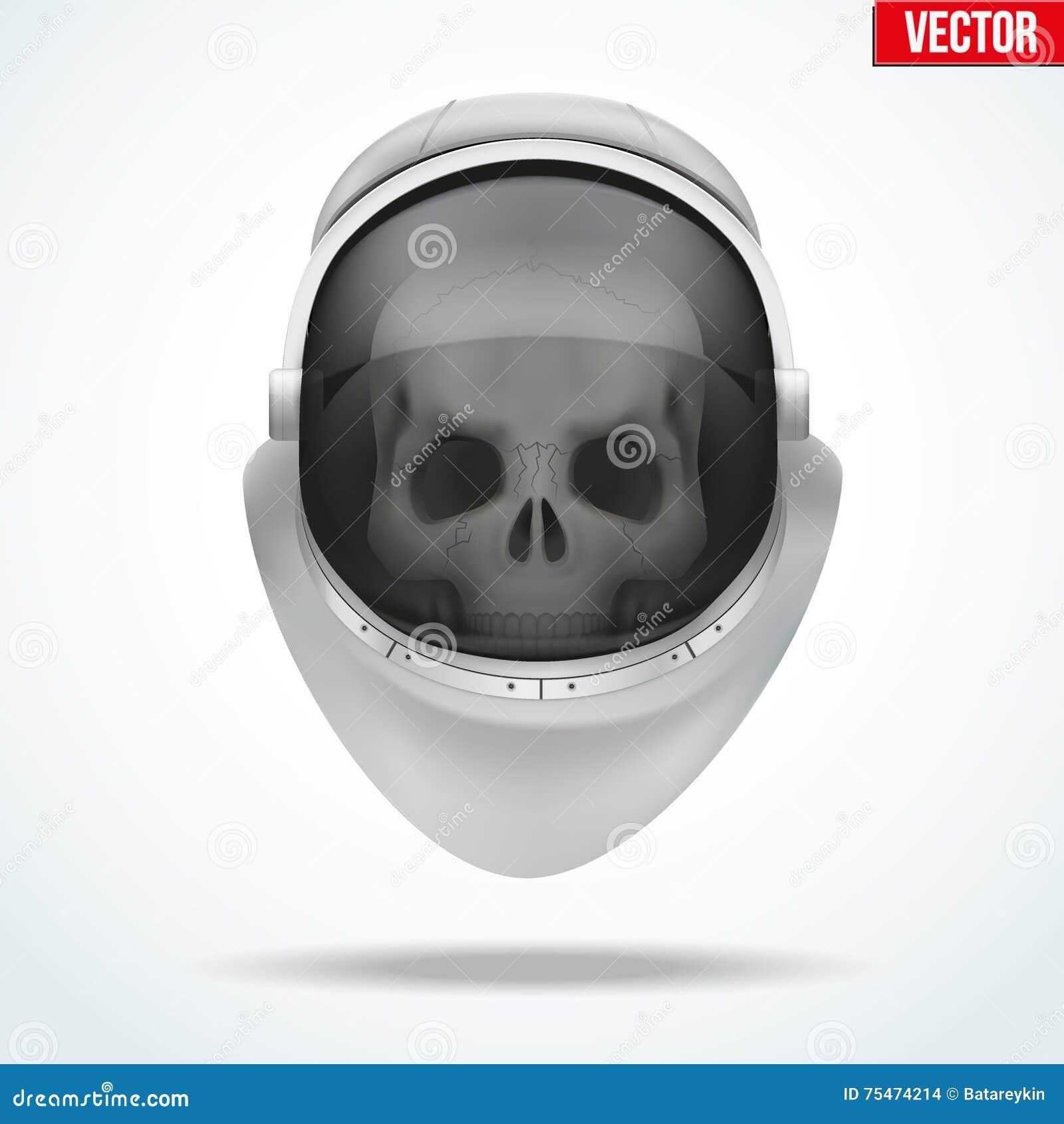 Astronaut Space Helmet With Skull Behind Visor Glass Stock ...