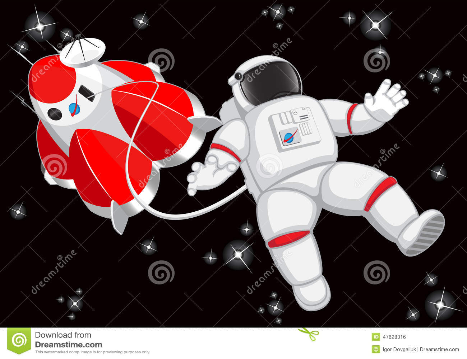 Astronaut Space Adventure Cartoon Vector
