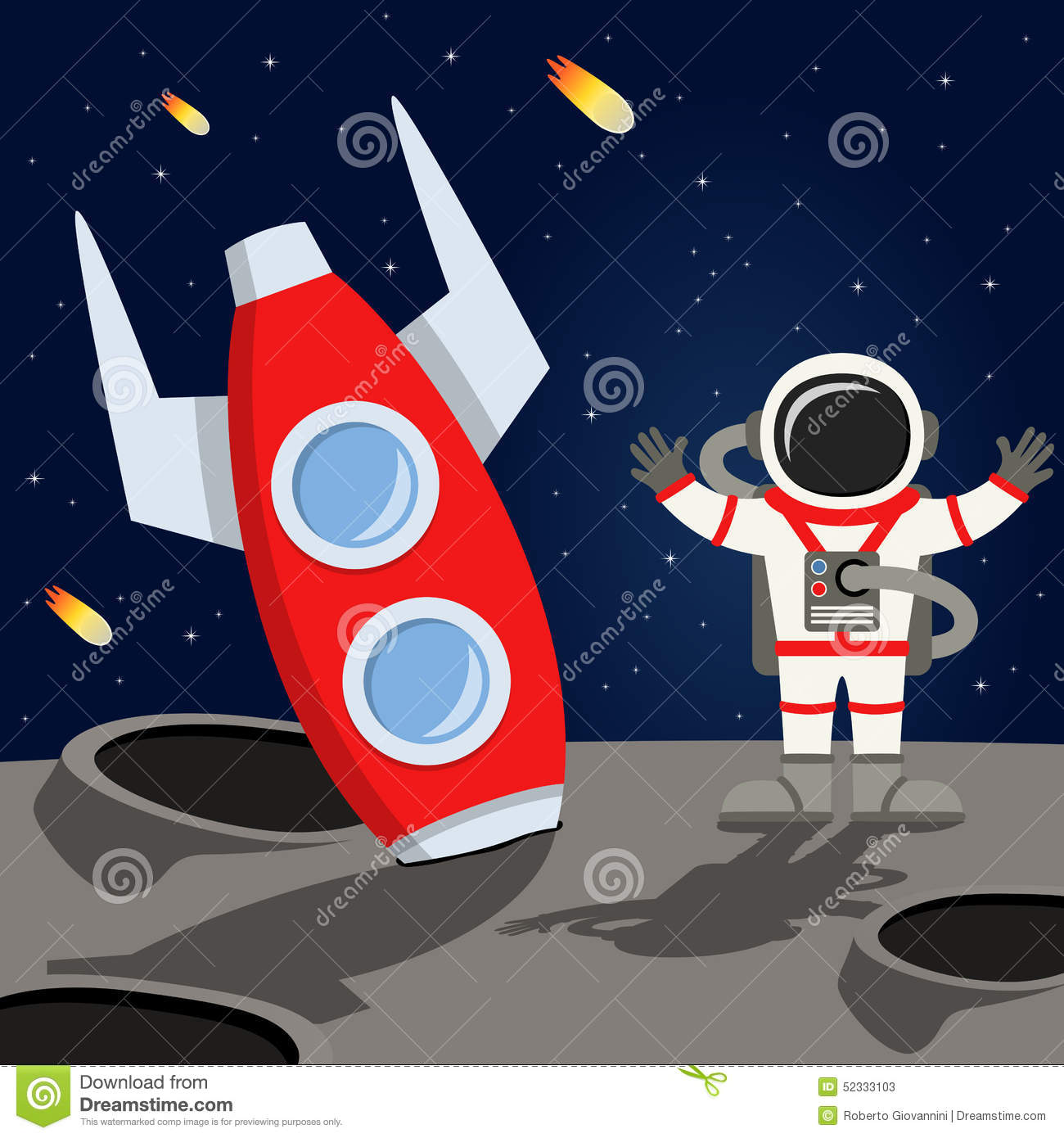 Astronaut And Space Rocket On The Moon Stock Vector ...