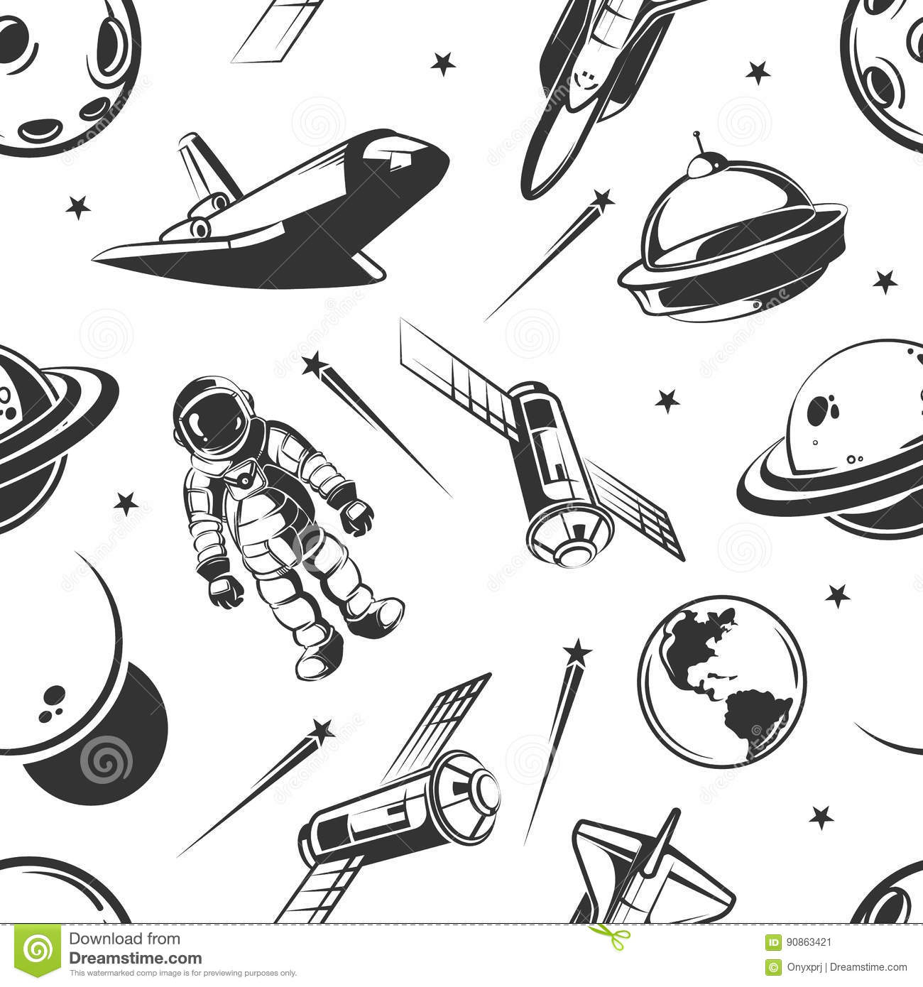 Astronaut space traveling vector seamless pattern in vintage style