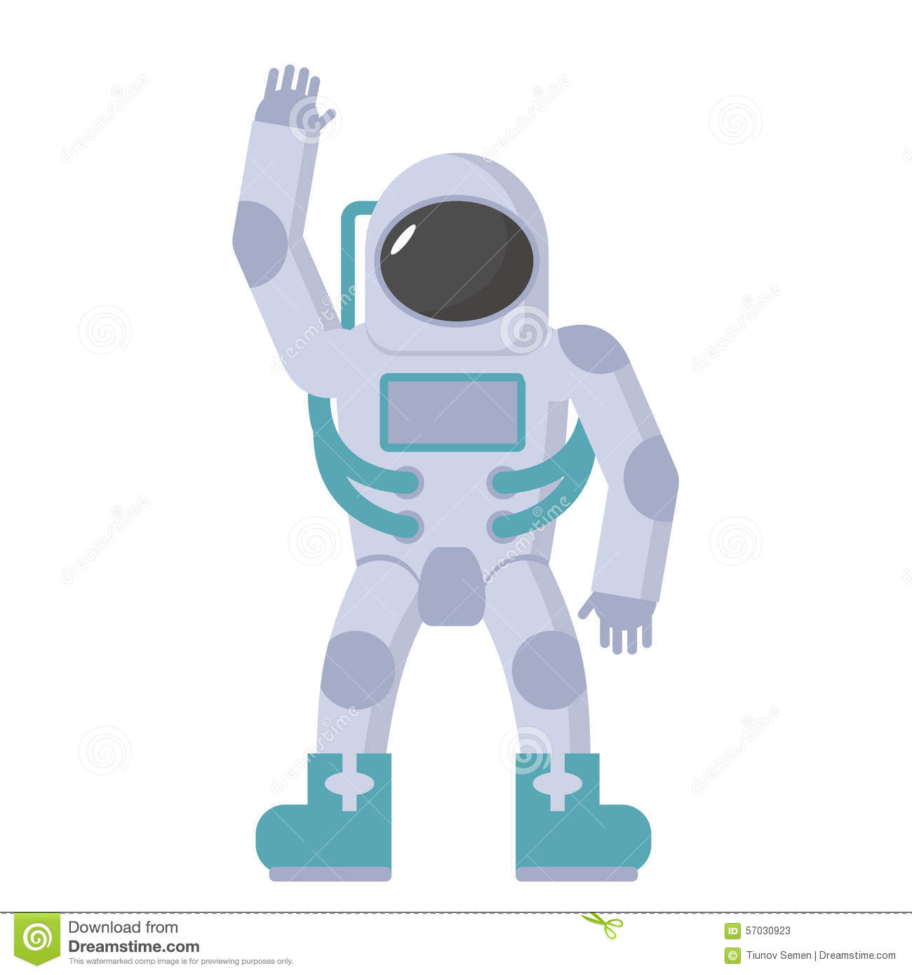Astronaut In Spacesuit Waving Hand. Vector Illustration On ...