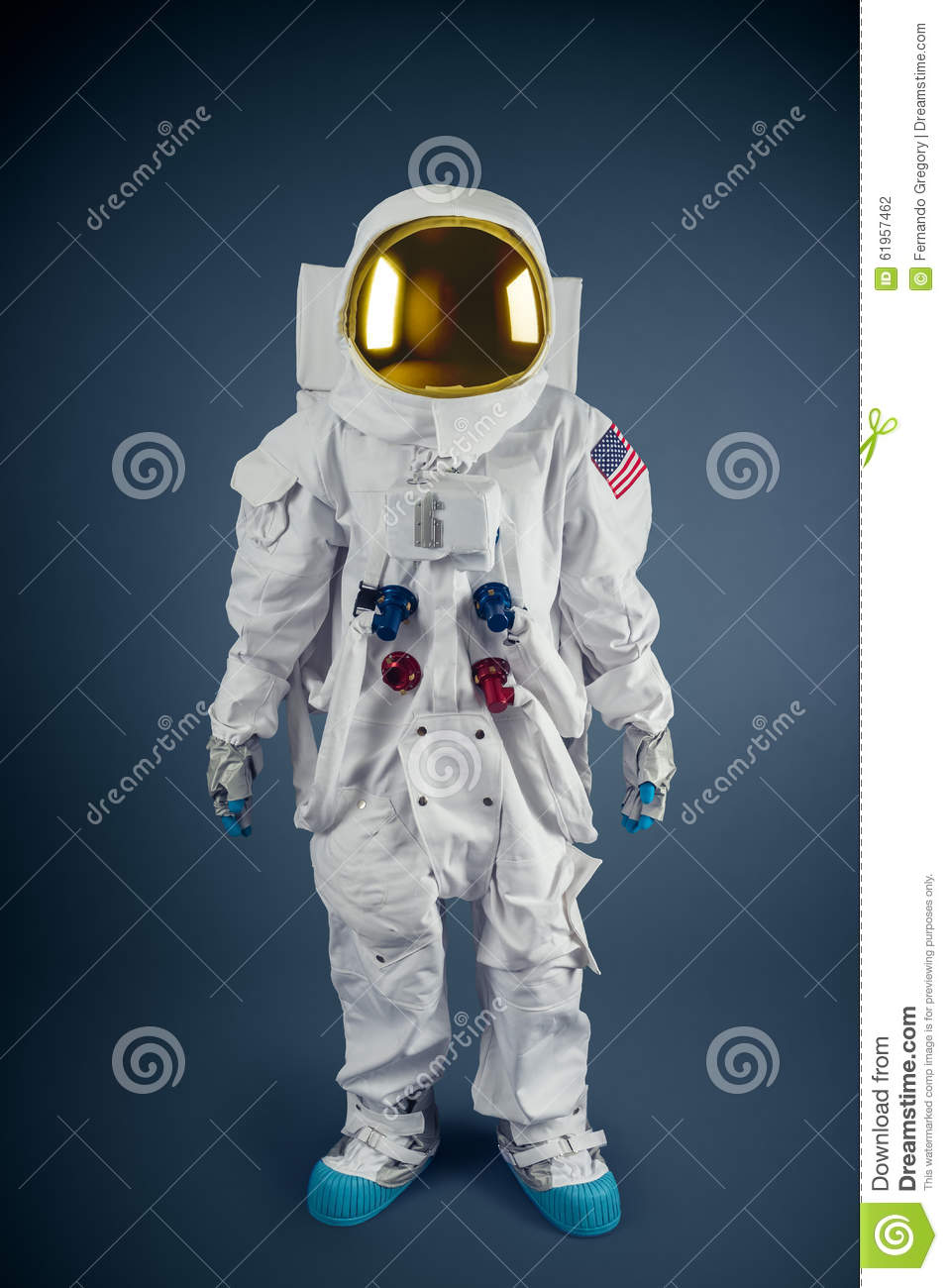 Astronaut Standing On A Grey Background Stock Photo ...