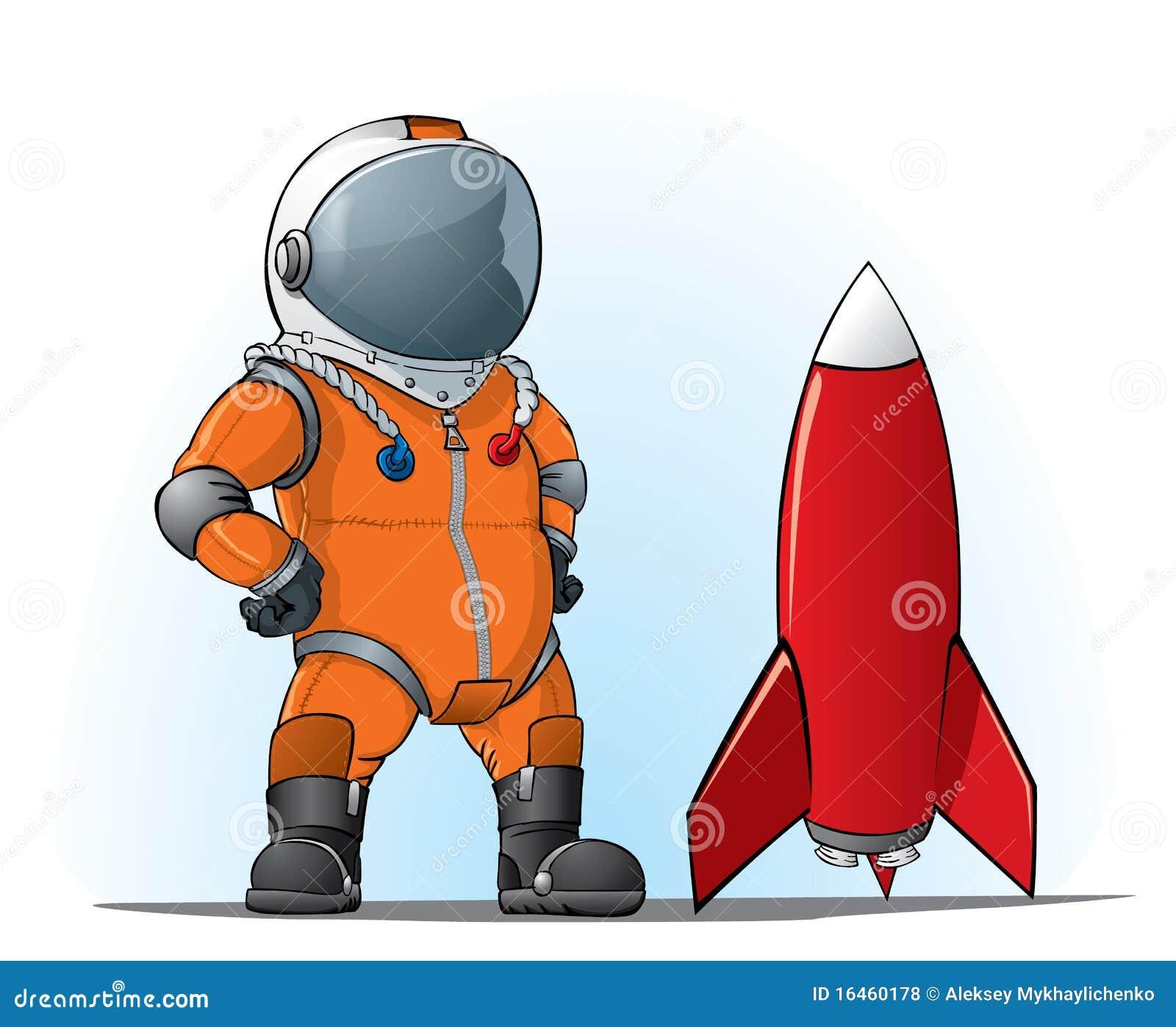 astronaut whith eine rakete lizenzfreie stockfotos  bild