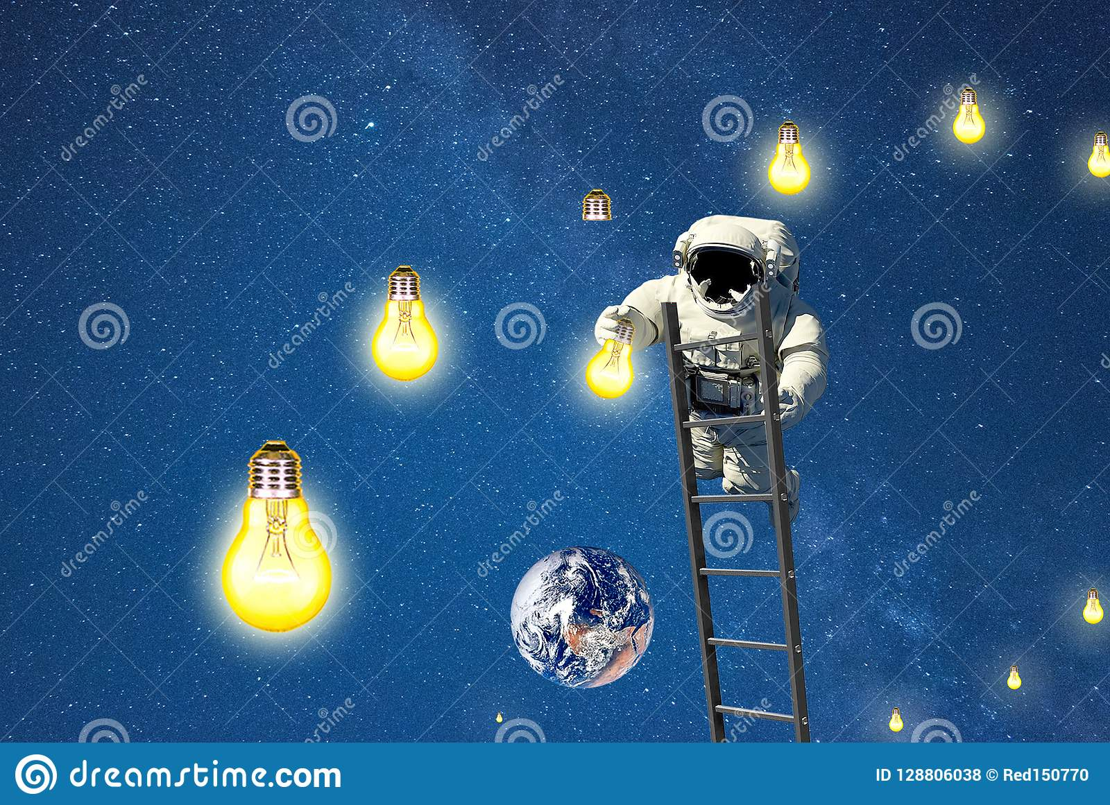Astronaut Witch Mission Light In Galaxy  Stock Photo - Image