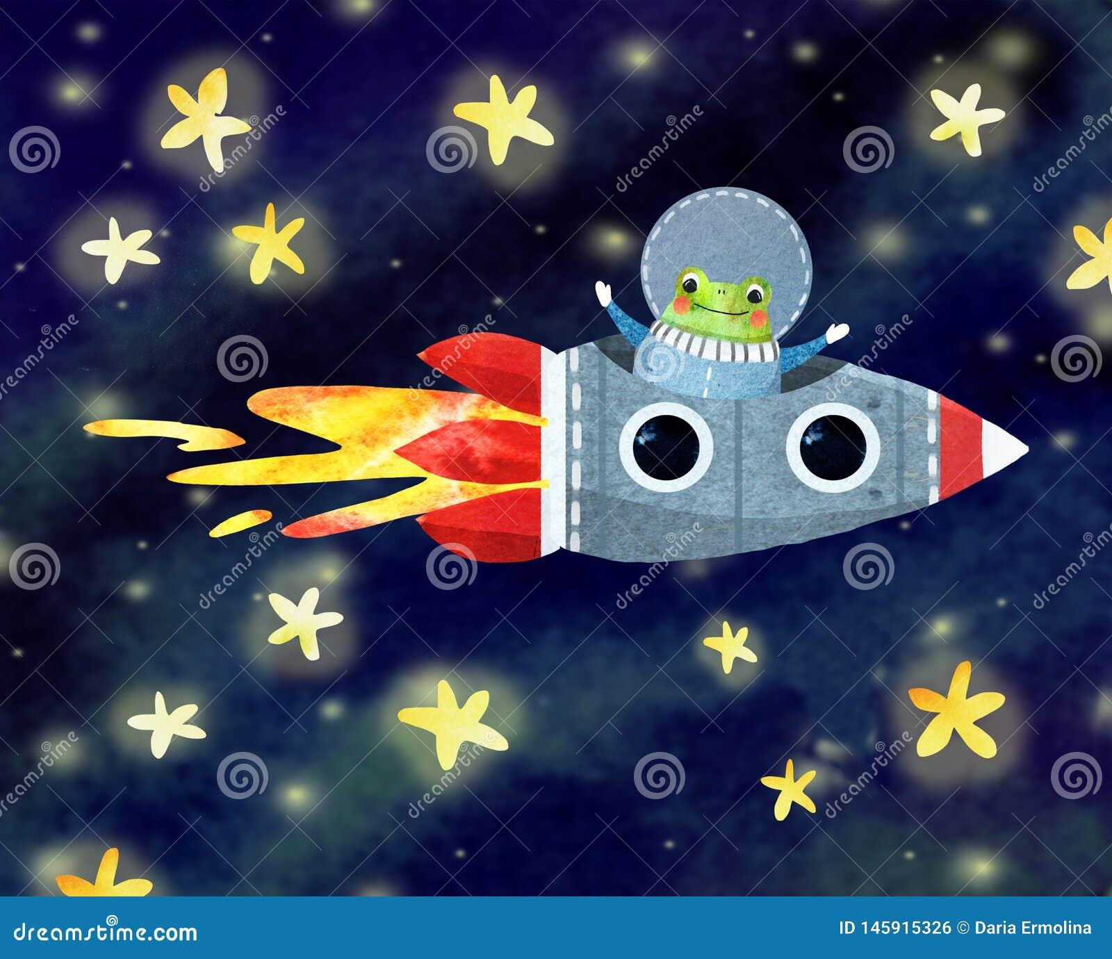 Astronauta alegre en un cohete