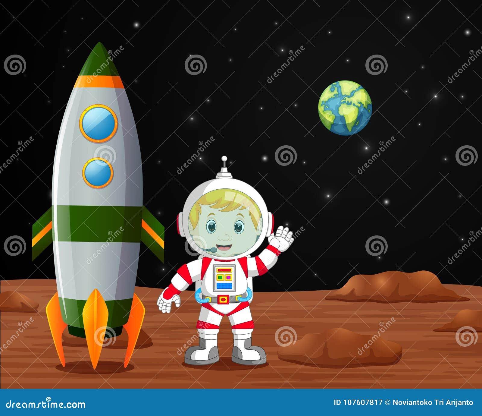 Astronauta che sta sull illustrazione del pianeta