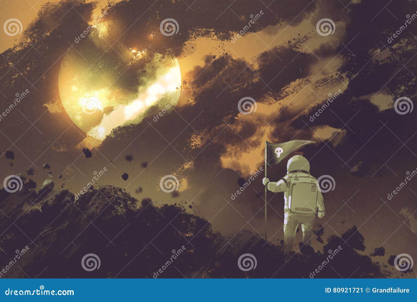 Astronauta com uma bandeira que está na montanha contra um céu nebuloso