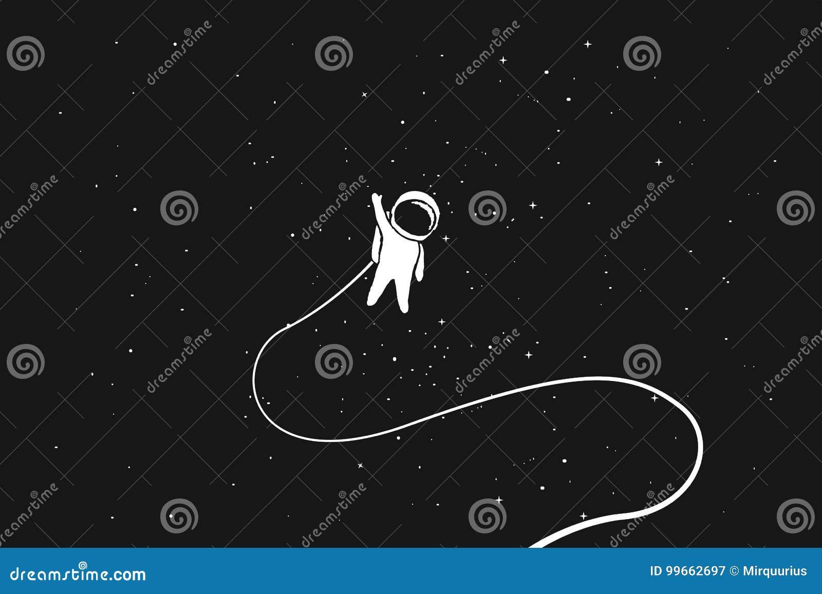 Astronauta da solo nello spazio cosmico