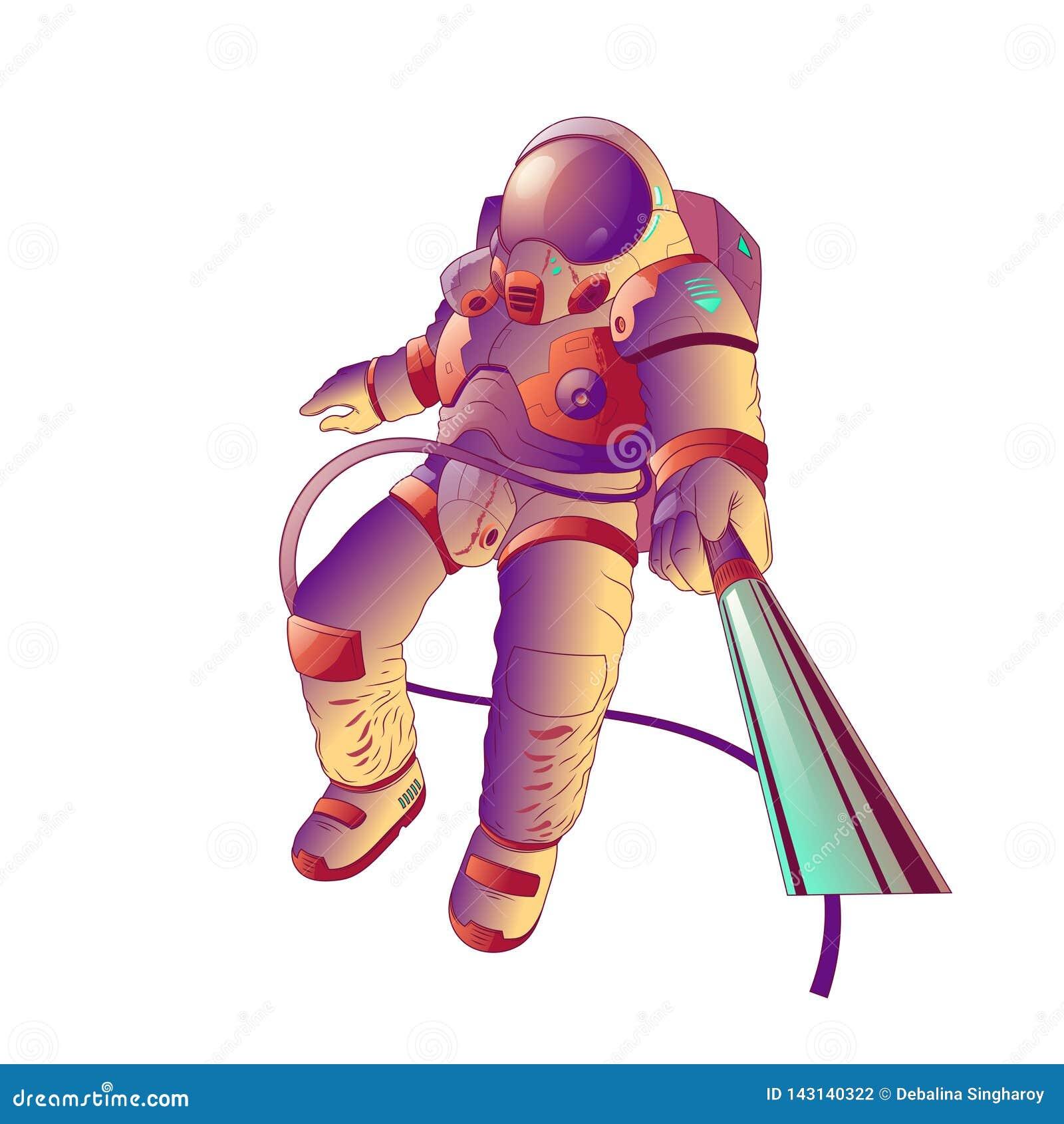 Astronauta de toque ligeiro na lua, ilustra??o do vetor