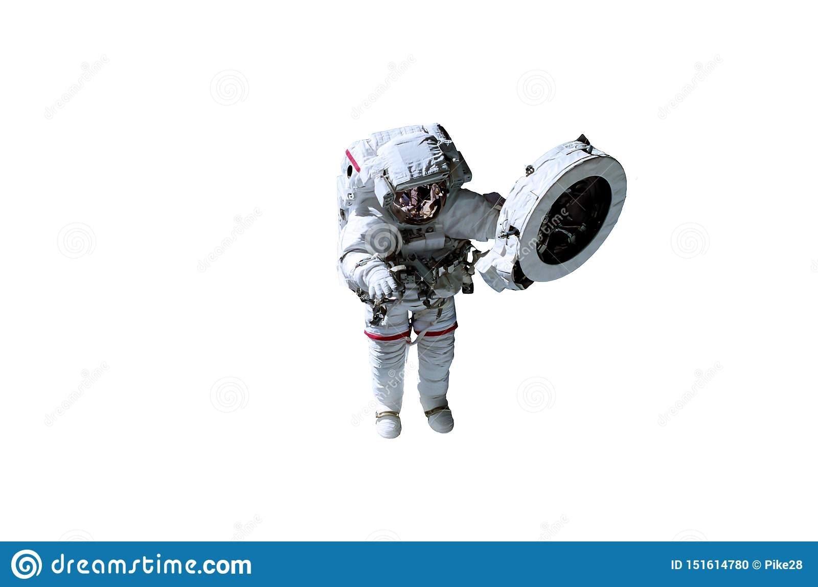 Astronauta del espacio único en el traje blanco con las líneas rojas