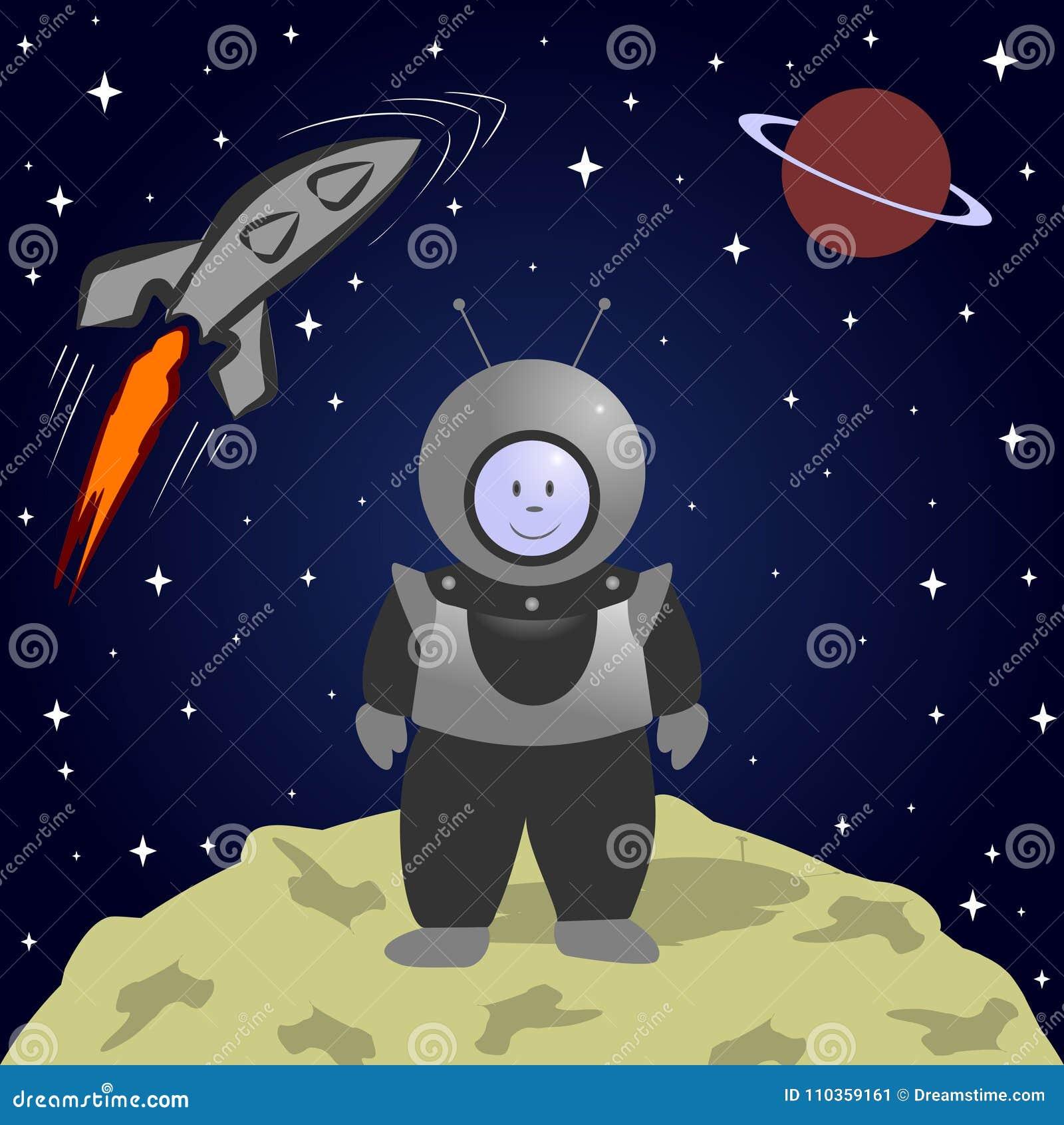Astronauta del fumetto sulla luna Paesaggio dello spazio