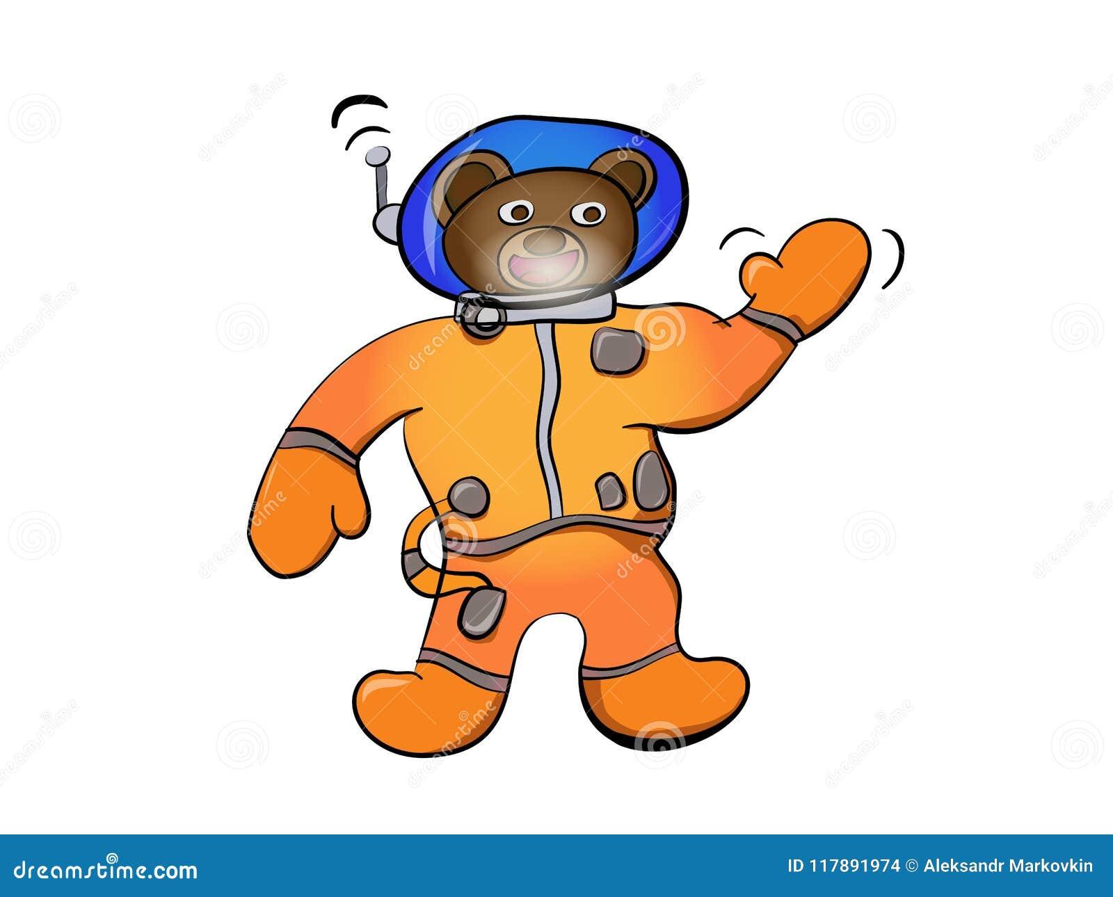 astronauta do urso marrom dos desenhos animados ilustração do vetor
