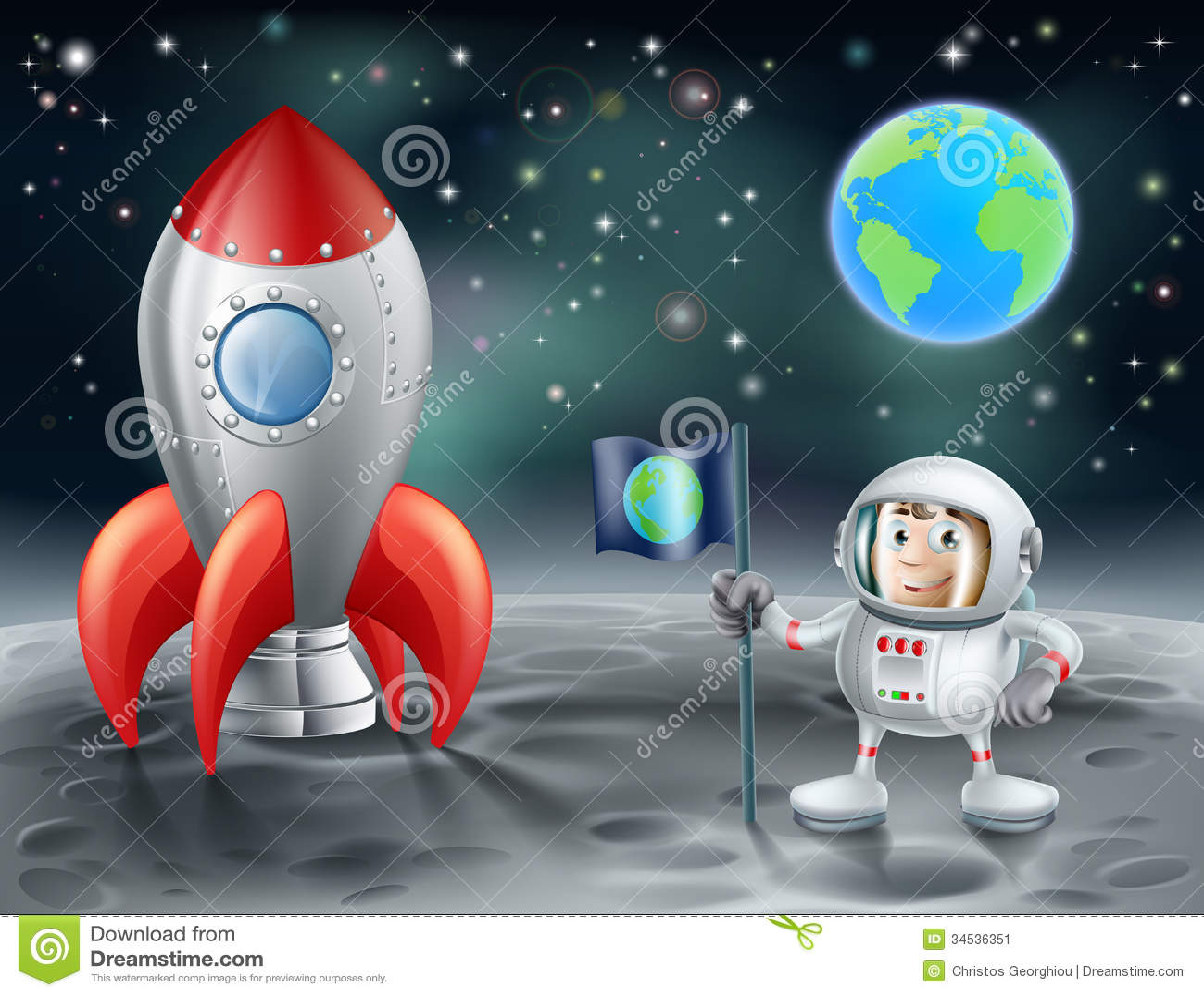 Astronauta dos desenhos animados e foguete de espaço do vintage na lua