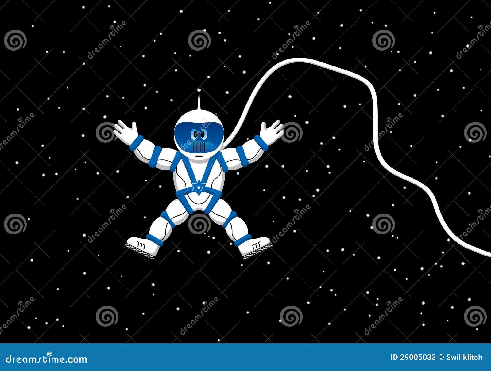 Astronauta Flotando En El Espacio Exterior: Astronauta En Espacio Exterior Ilustración Del Vector