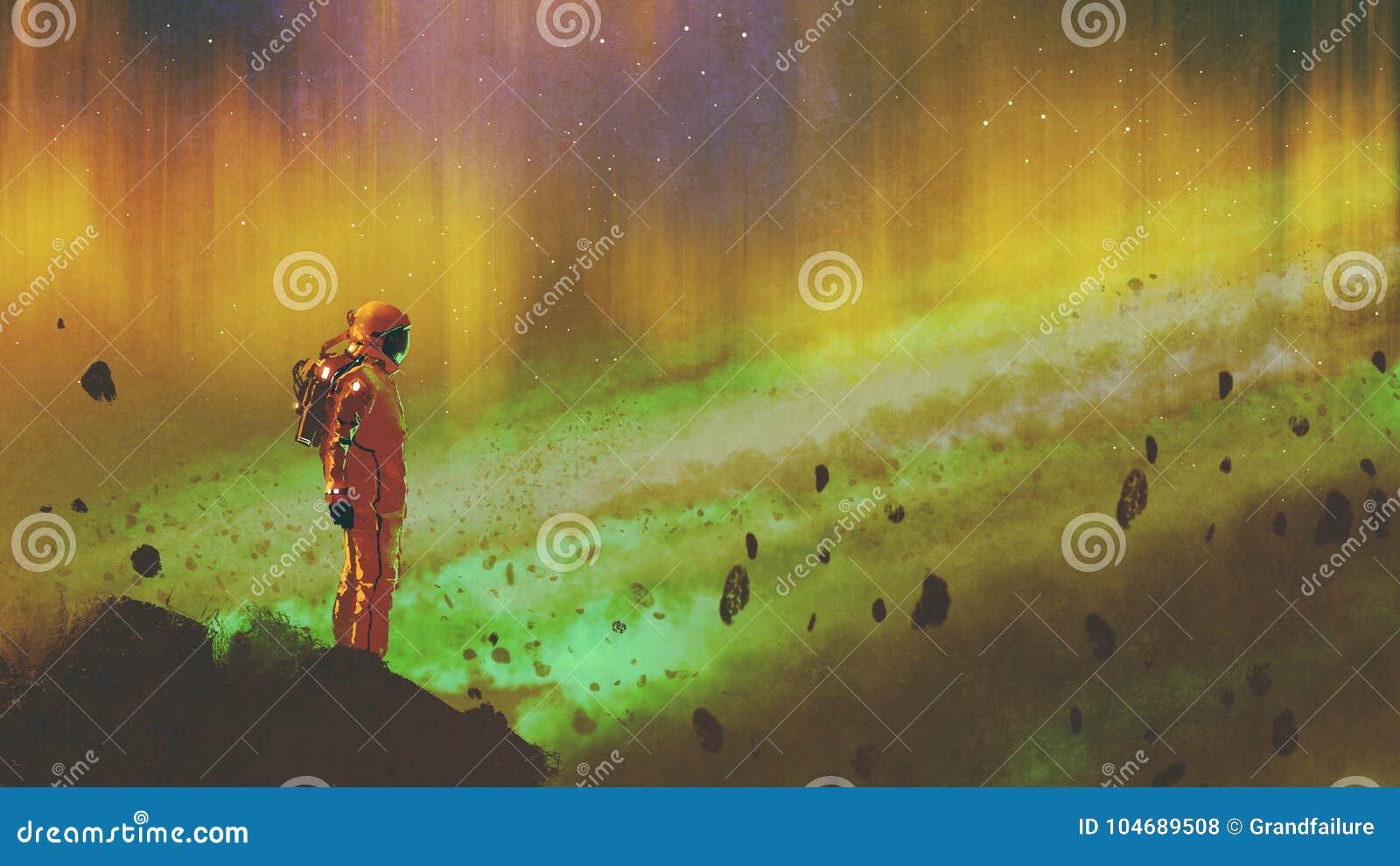 Astronauta en espacio exterior estrellado