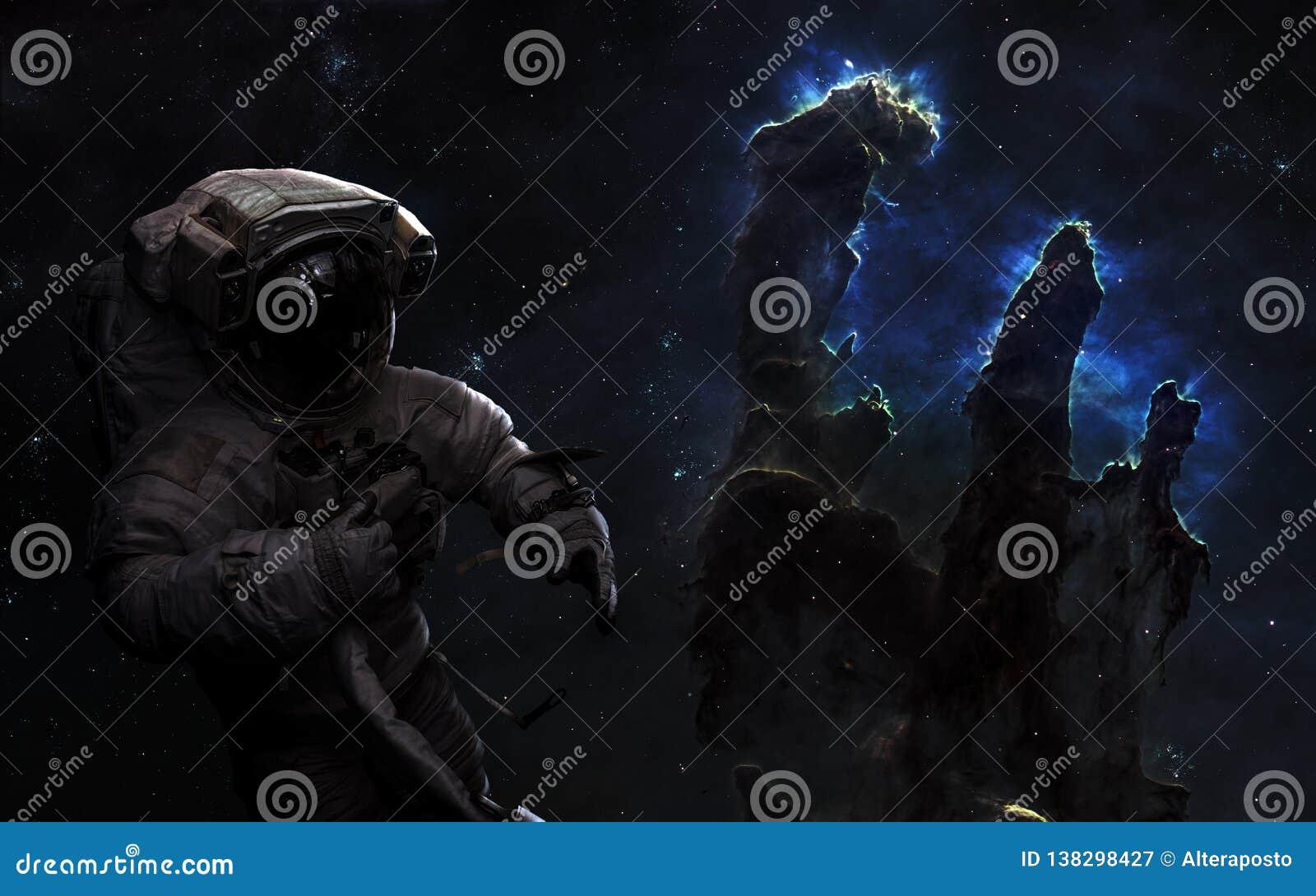 Astronauta en espacio profundo Pilares de la creación, cúmulos de estrellas Arte de la ciencia ficción Los elementos de la imagen