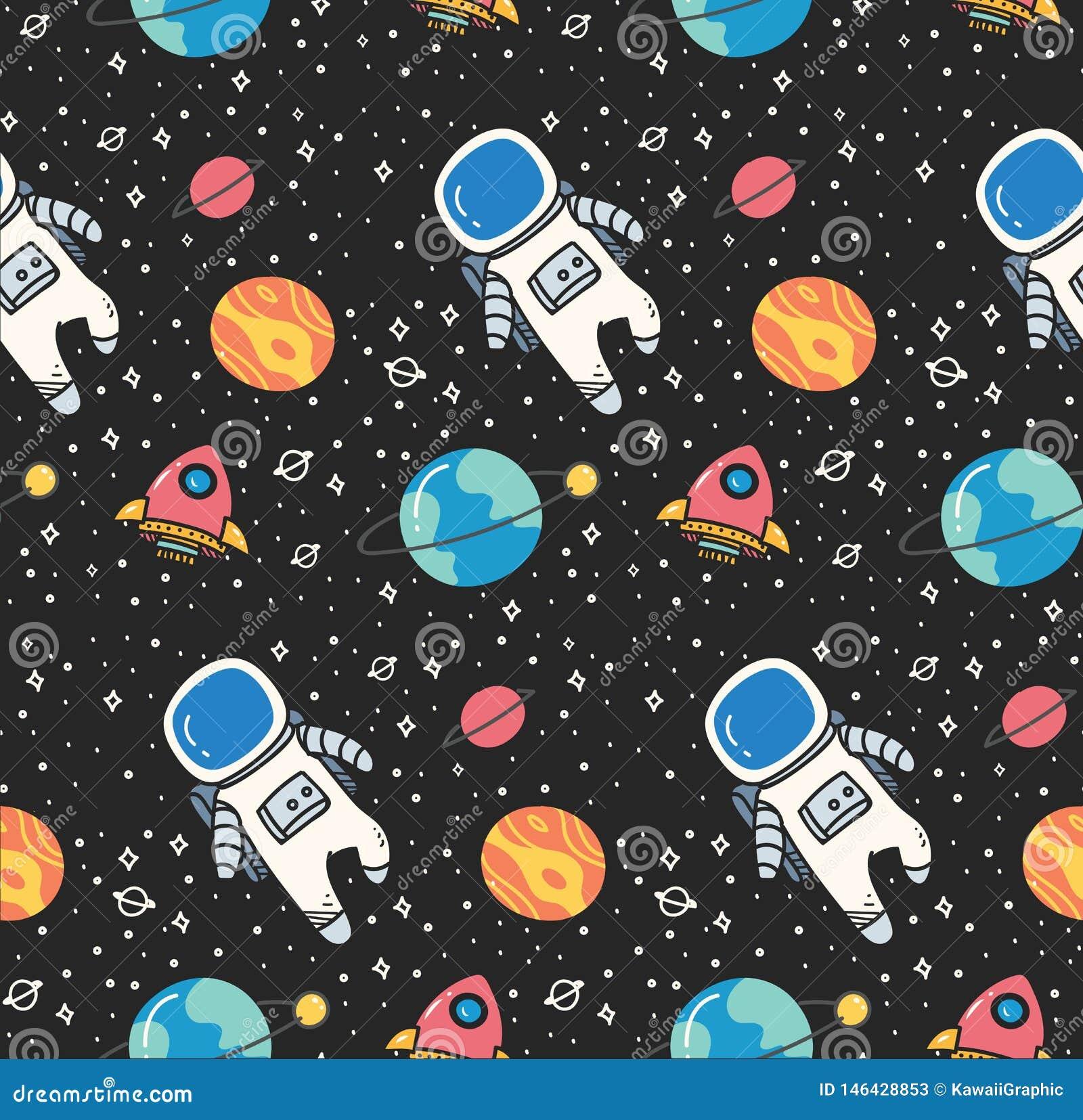 Astronauta en fondo incons?til del espacio en vector del estilo del kawaii