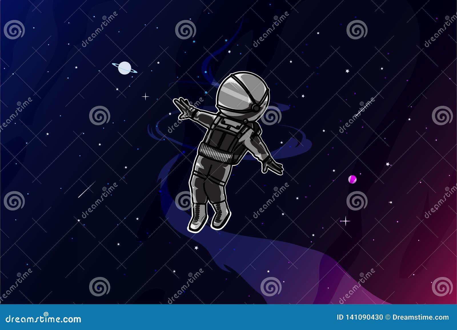 Astronauta feliz en el ejemplo del espacio
