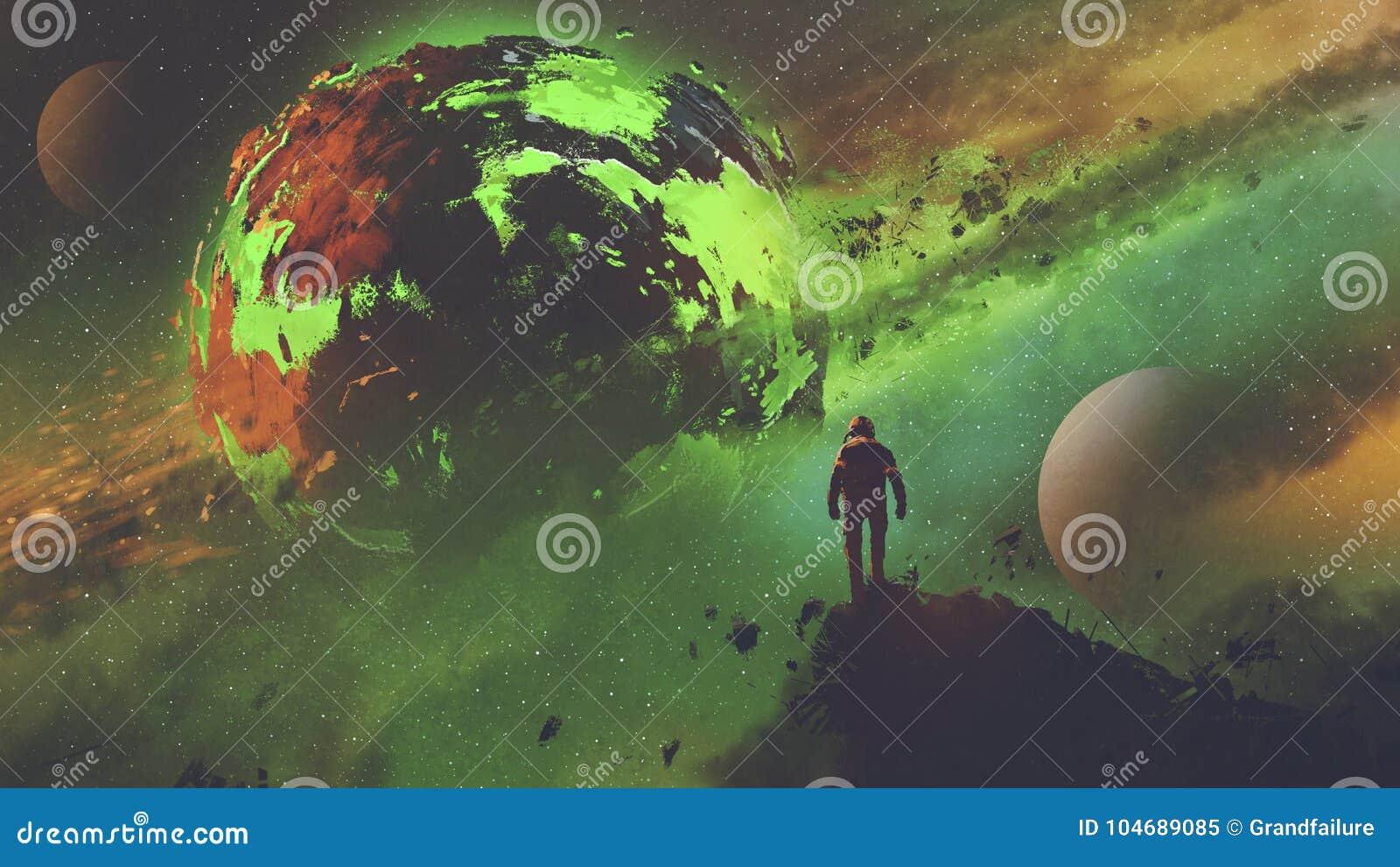 Astronauta que mira el planeta ácido
