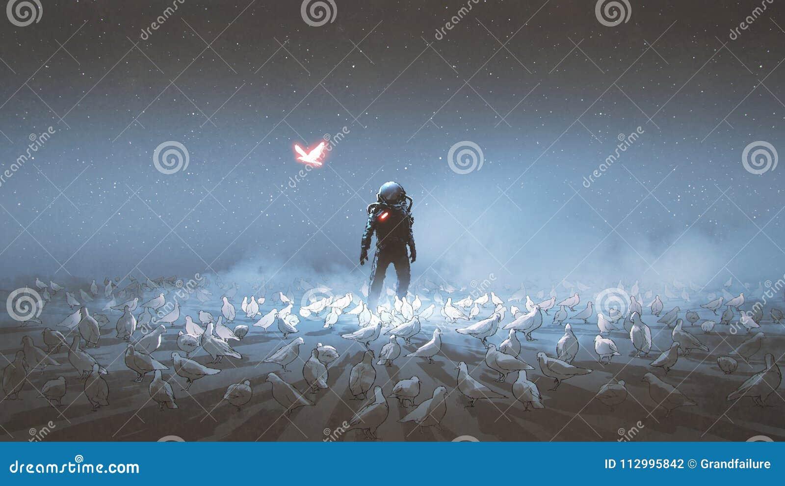 Astronauta que se coloca entre la multitud del pájaro