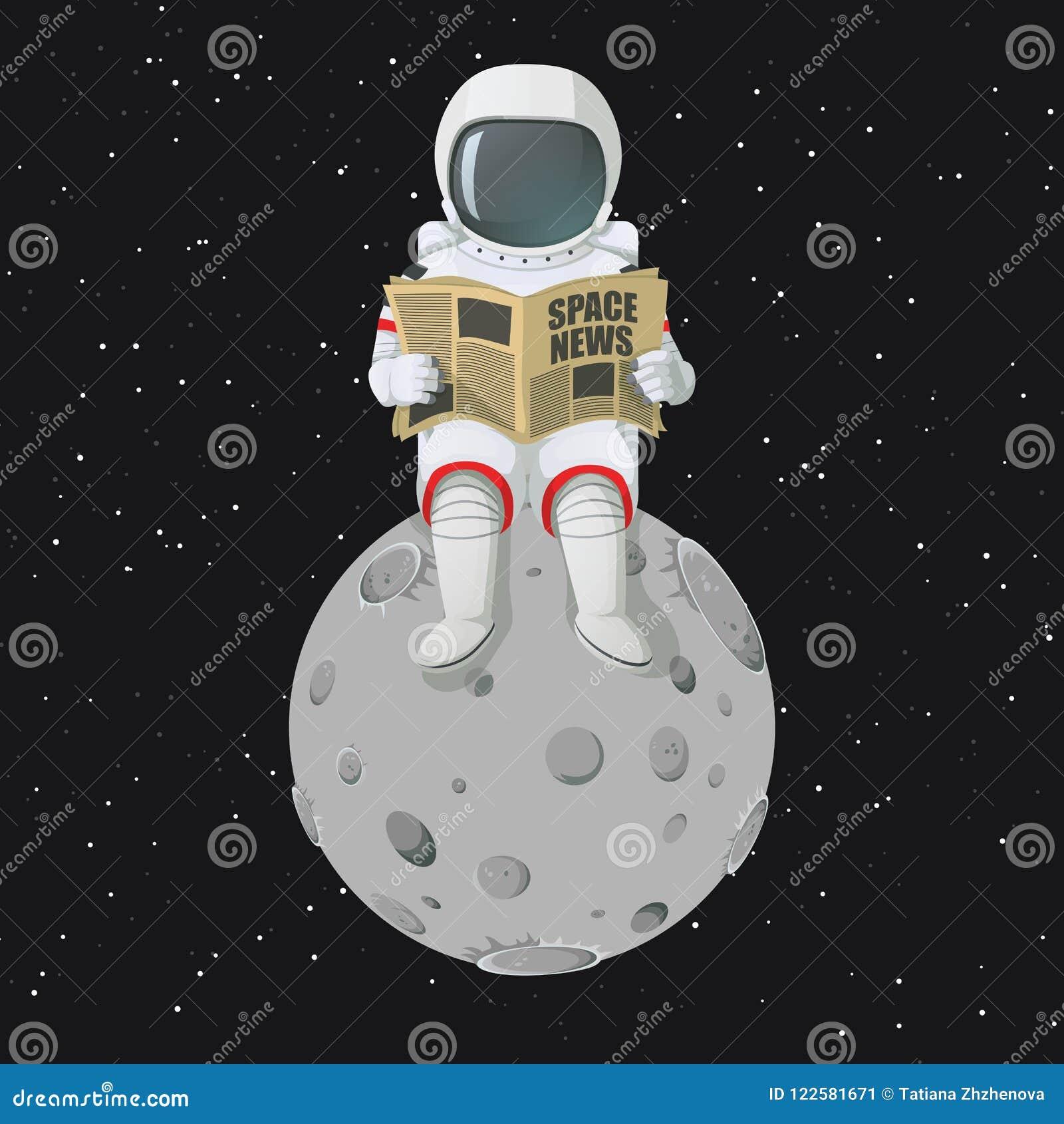 Astronauta que se sienta en el periódico de la lectura de la luna