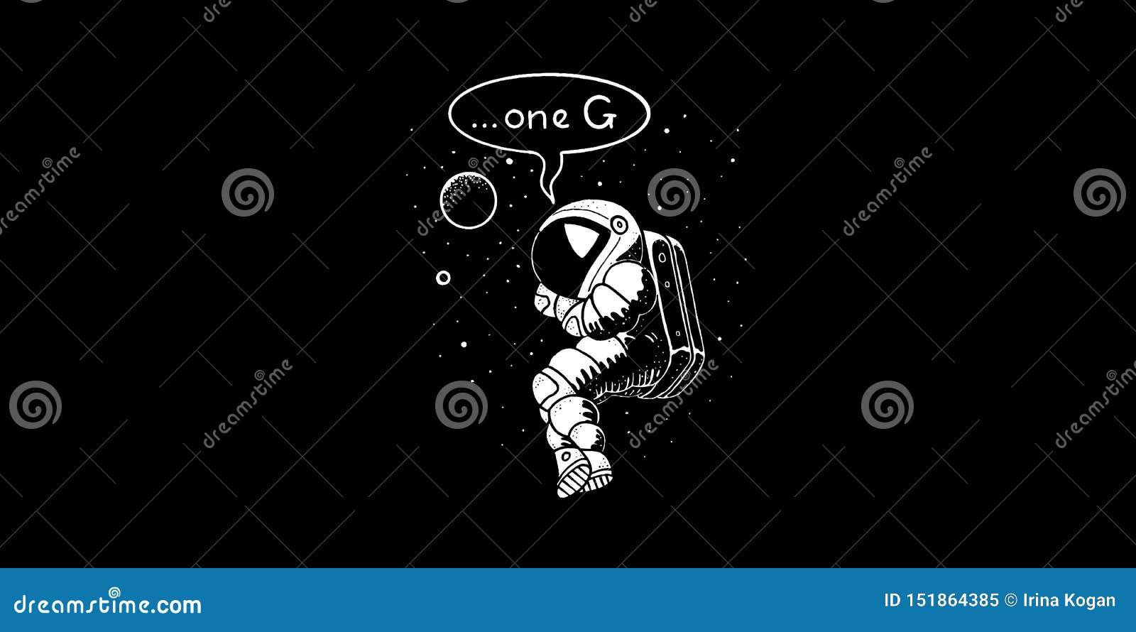 Astronauta só na ilustração do vetor de espaço Homem do espaço no spacesuit e no capacete