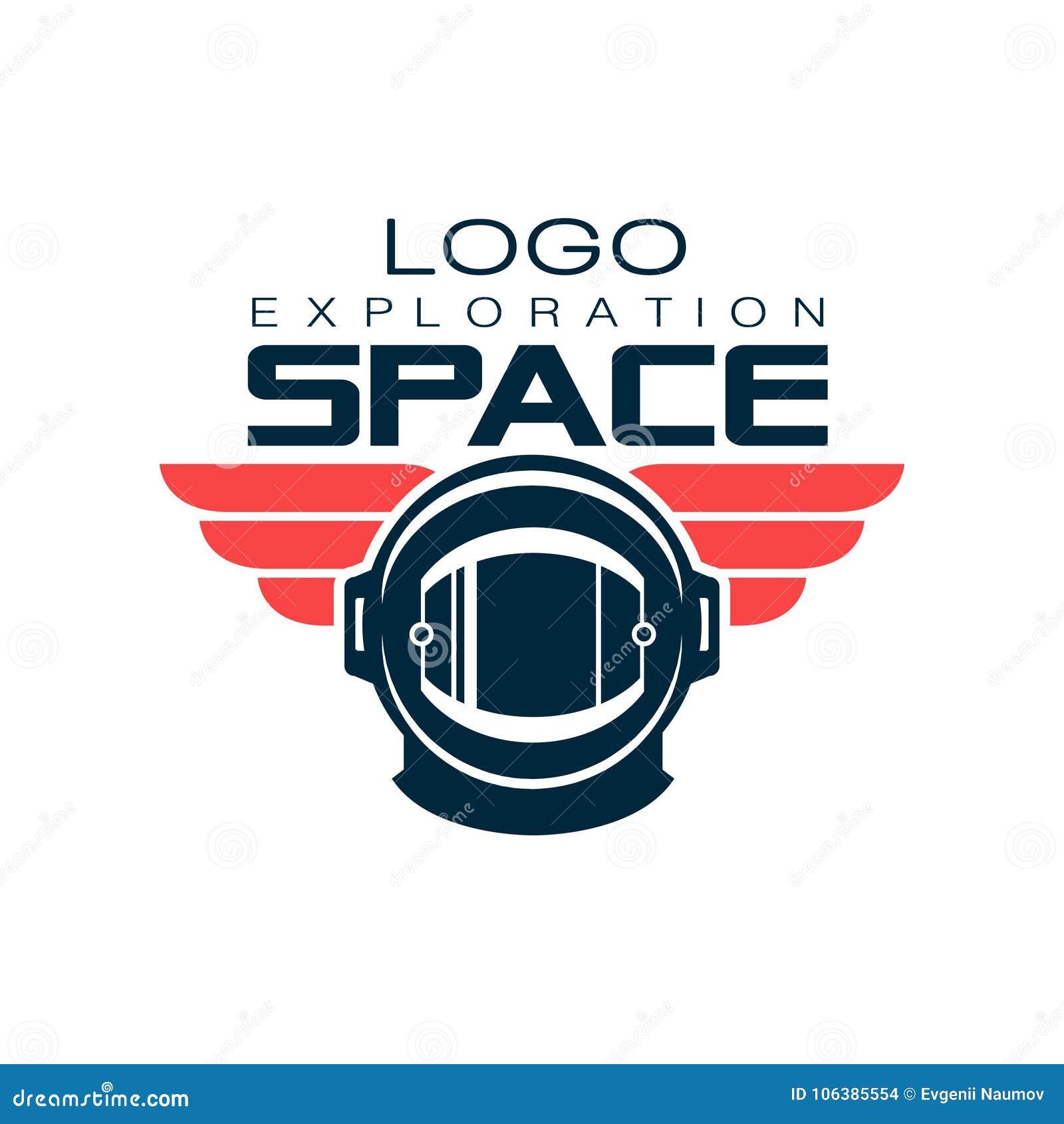 Astronauta ` s hełma ochronny logo Eksploracja przestrzeni kosmicznej Pozaziemska podróż Kreatywnie etykietka w mieszkanie stylu