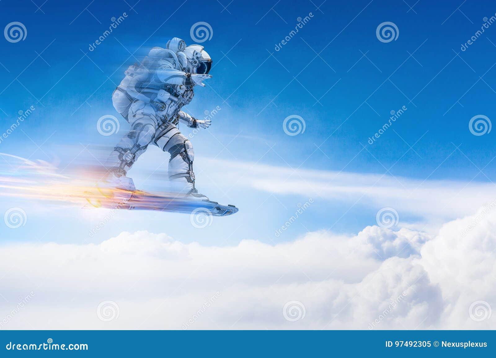 Astronauta sul bordo di volo Media misti