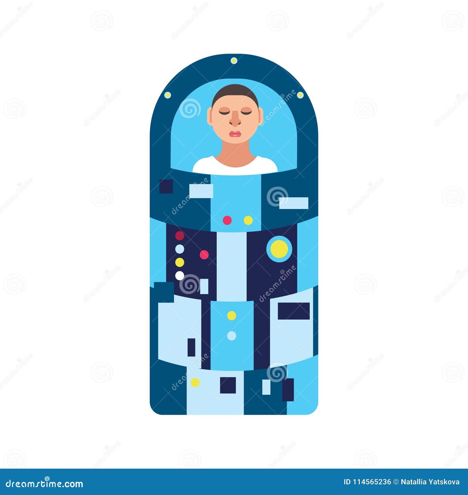 Astronauta w hibernaci kapsule