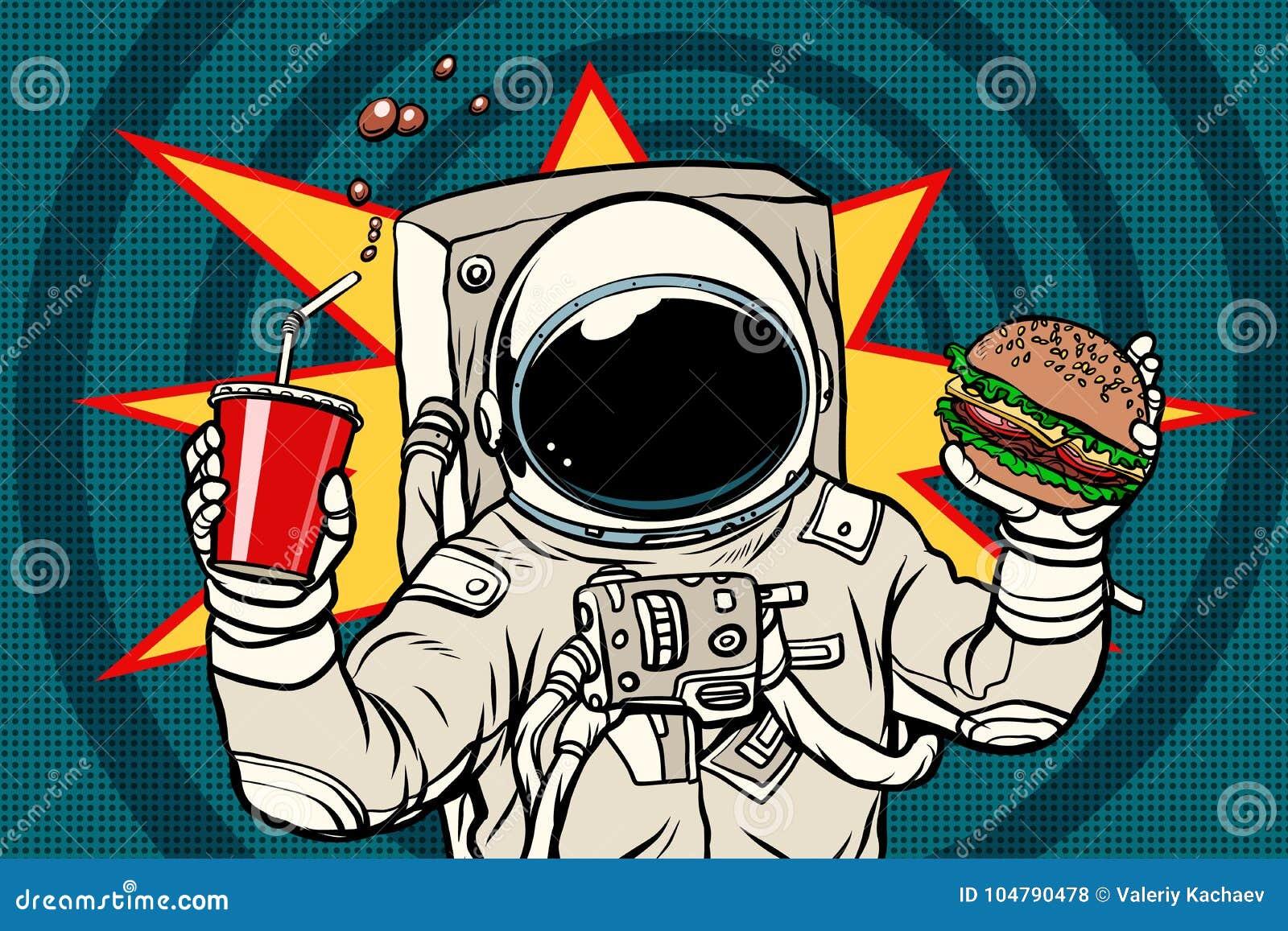 Astronaute avec un hamburger et une boisson