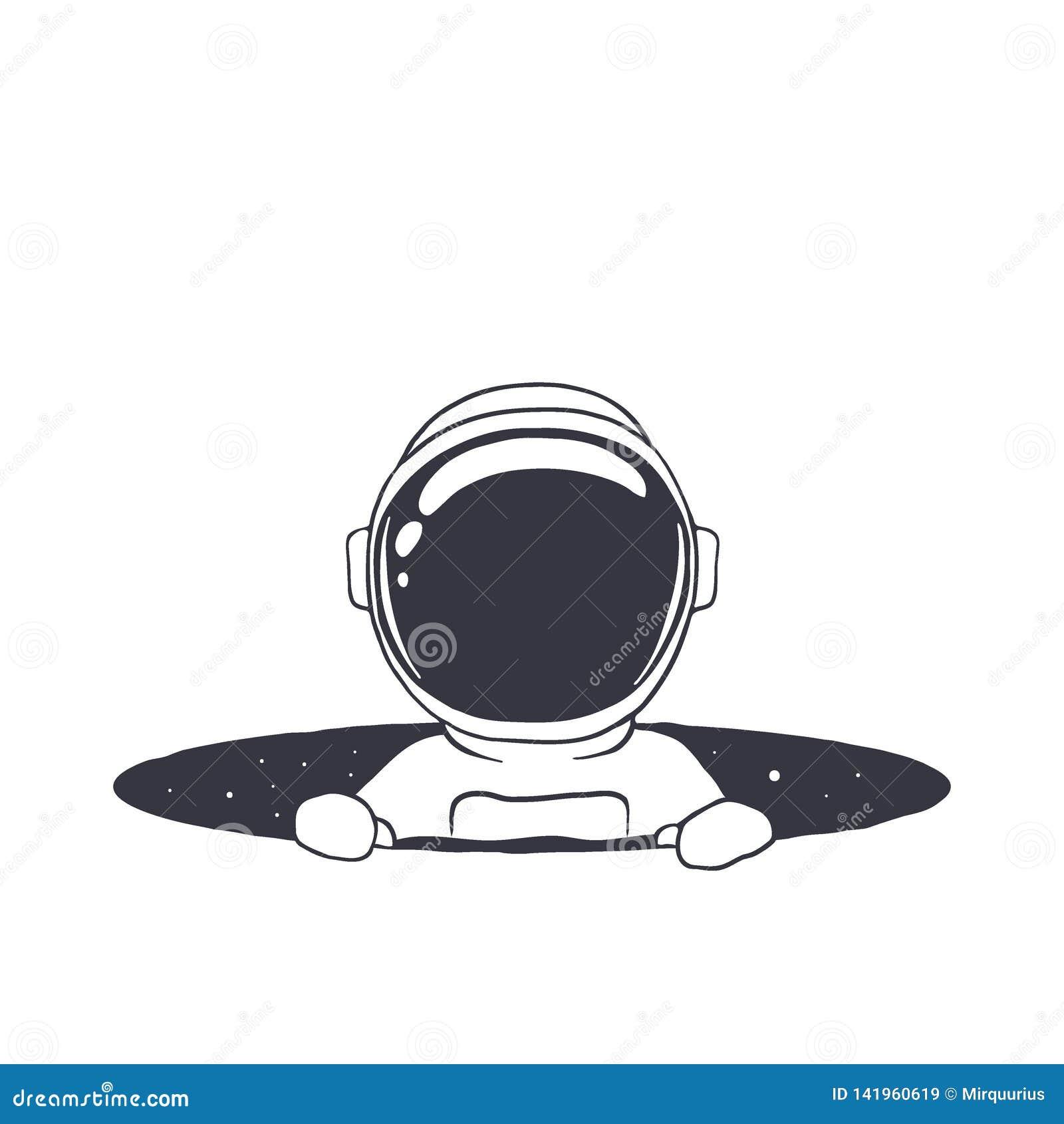 Astronaute de bébé en trou