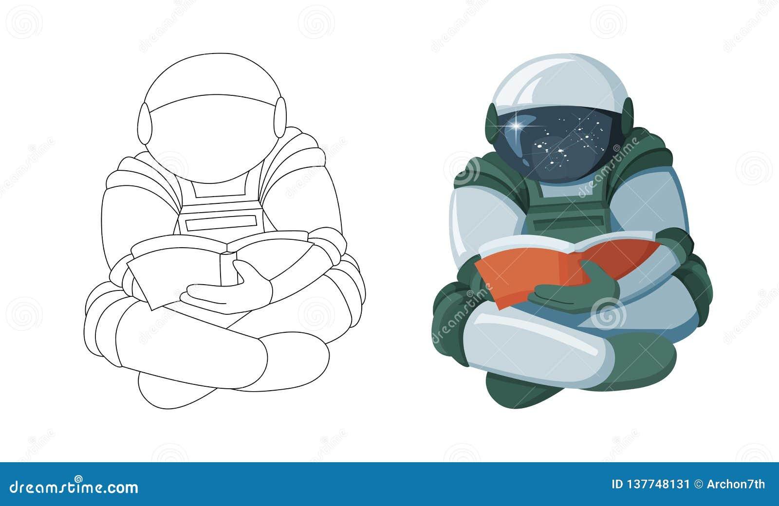 Astronaute de flottement de bande dessinée lisant un livre dans l espace d isolement sur le fond blanc