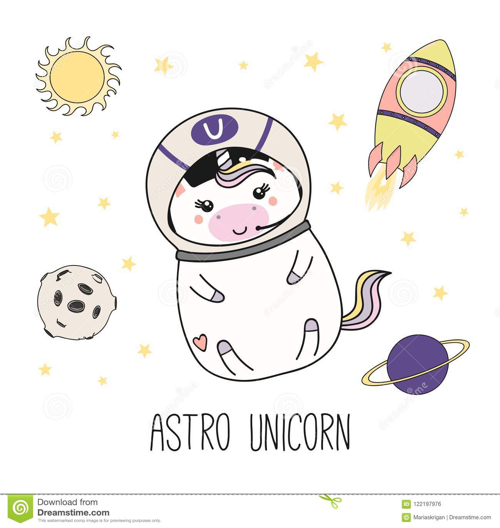Astronaute De Licorne De Kawaii Illustration De Vecteur