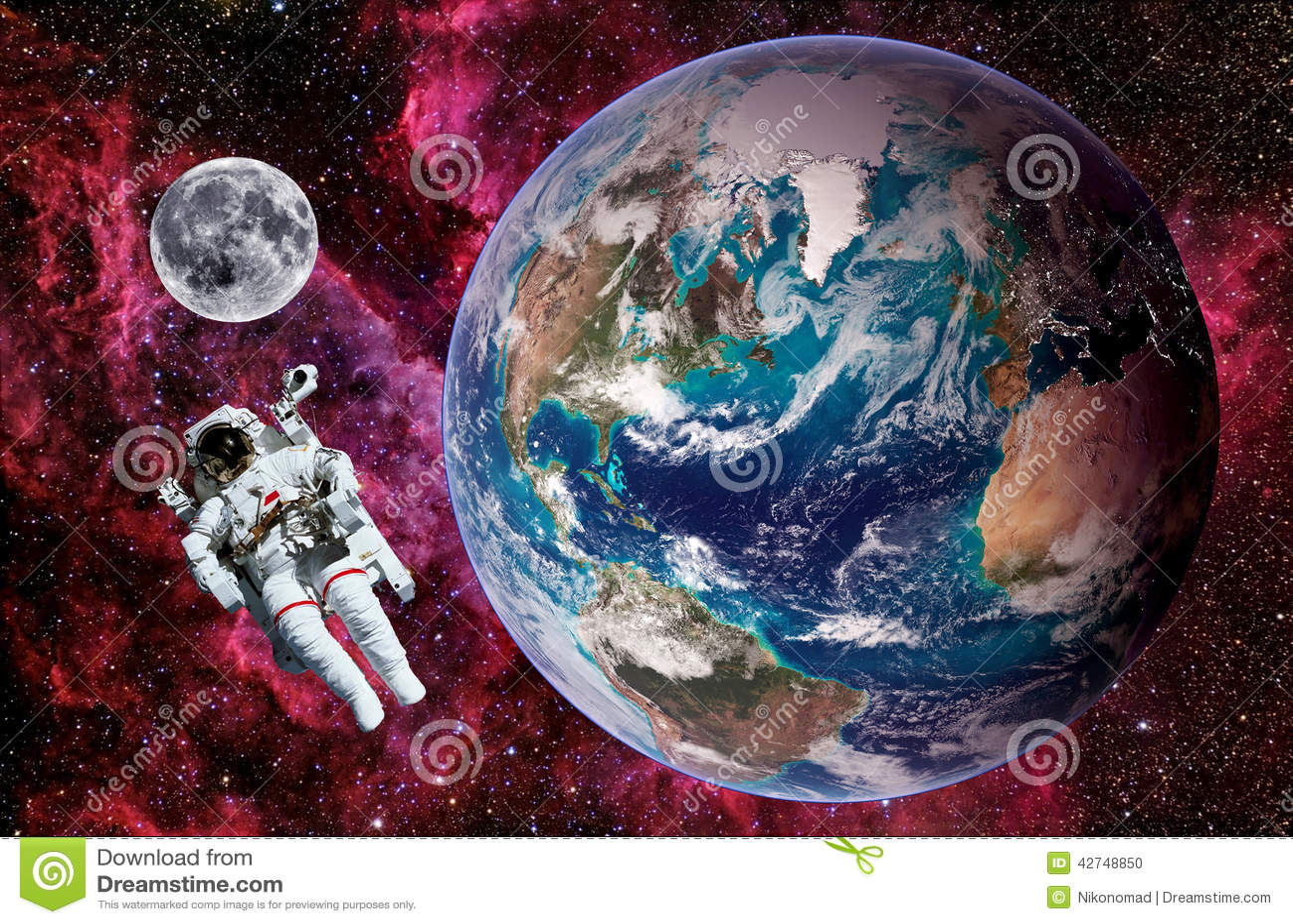 Astronaute Earth Moon Space