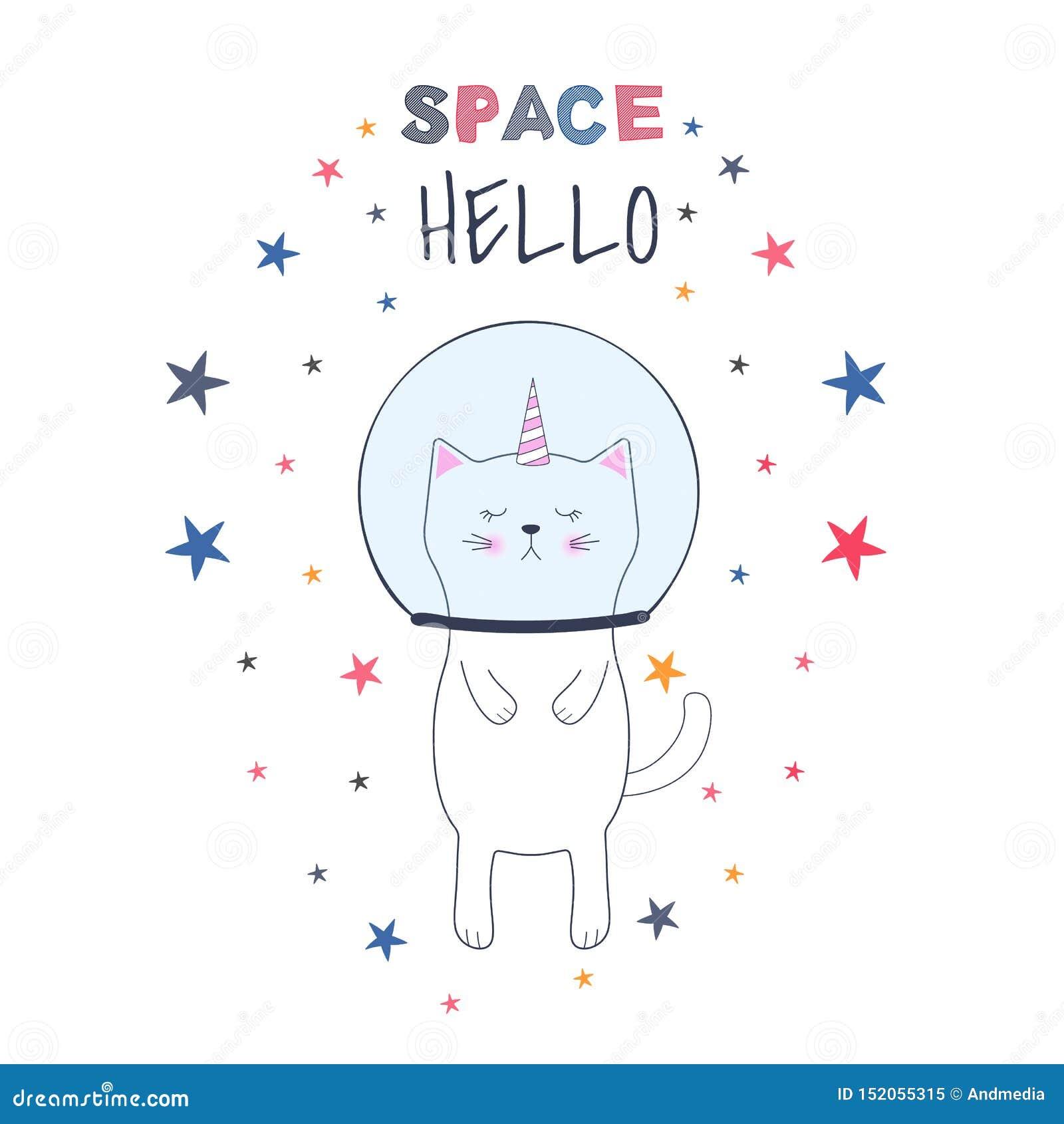 Astronaute mignon de licorne de chat de bande dessinée dans l espace Illustration de vecteur Carte de voeux