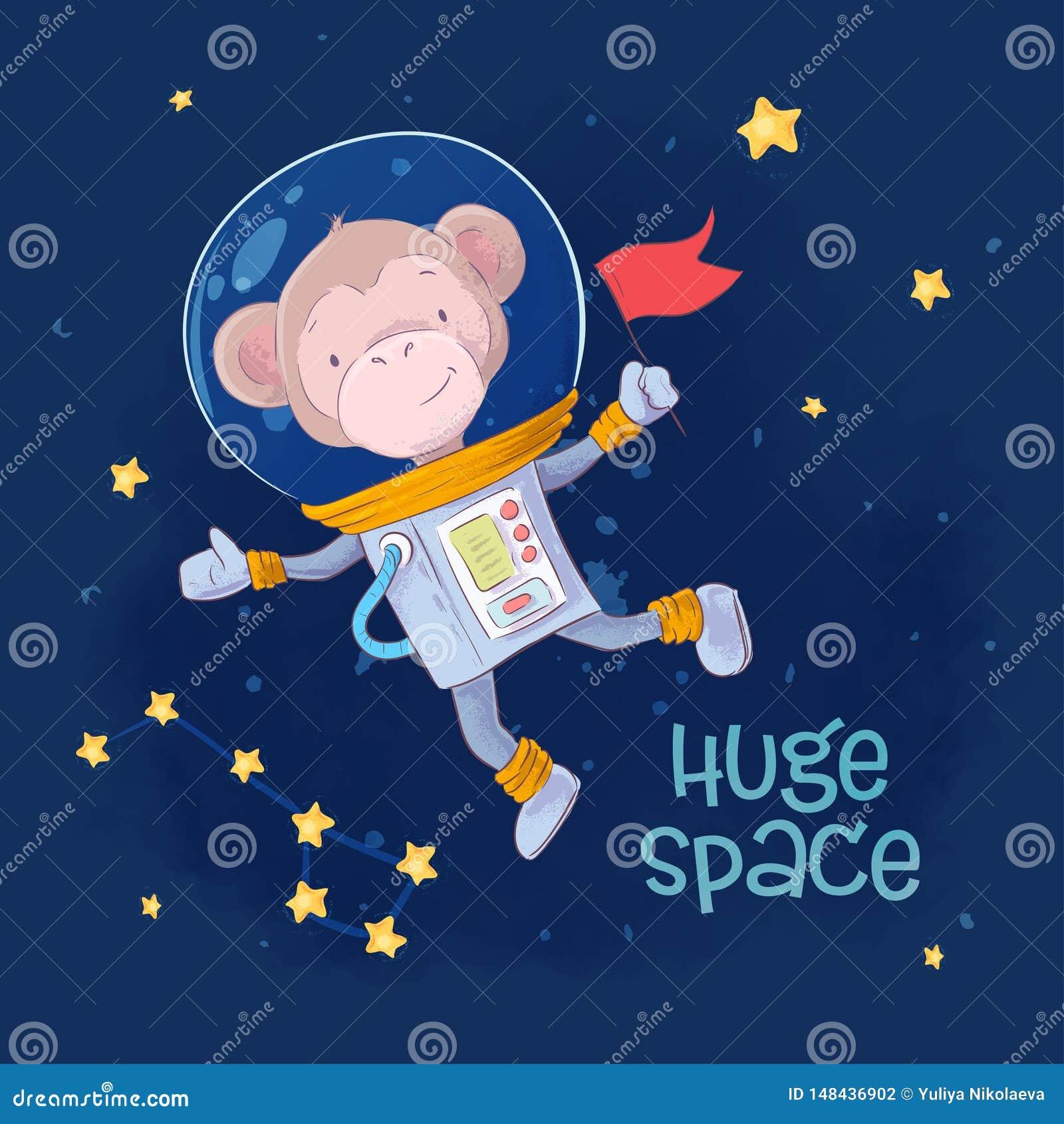 Astronaute mignon de singe d affiche de carte postale dans l espace avec les constellations et les étoiles dans un style de bande